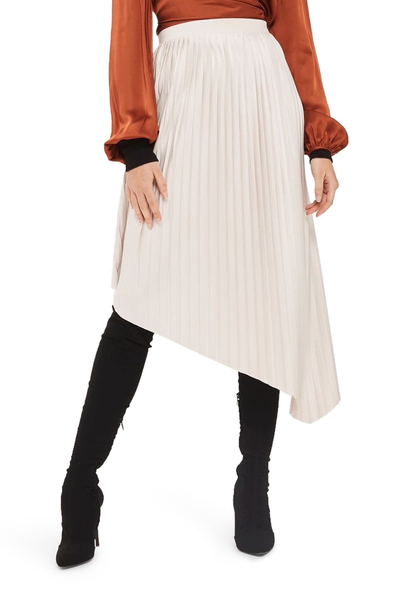 Asymmetrical Pleat Midi Skirt,                         Main,                         color, Beige