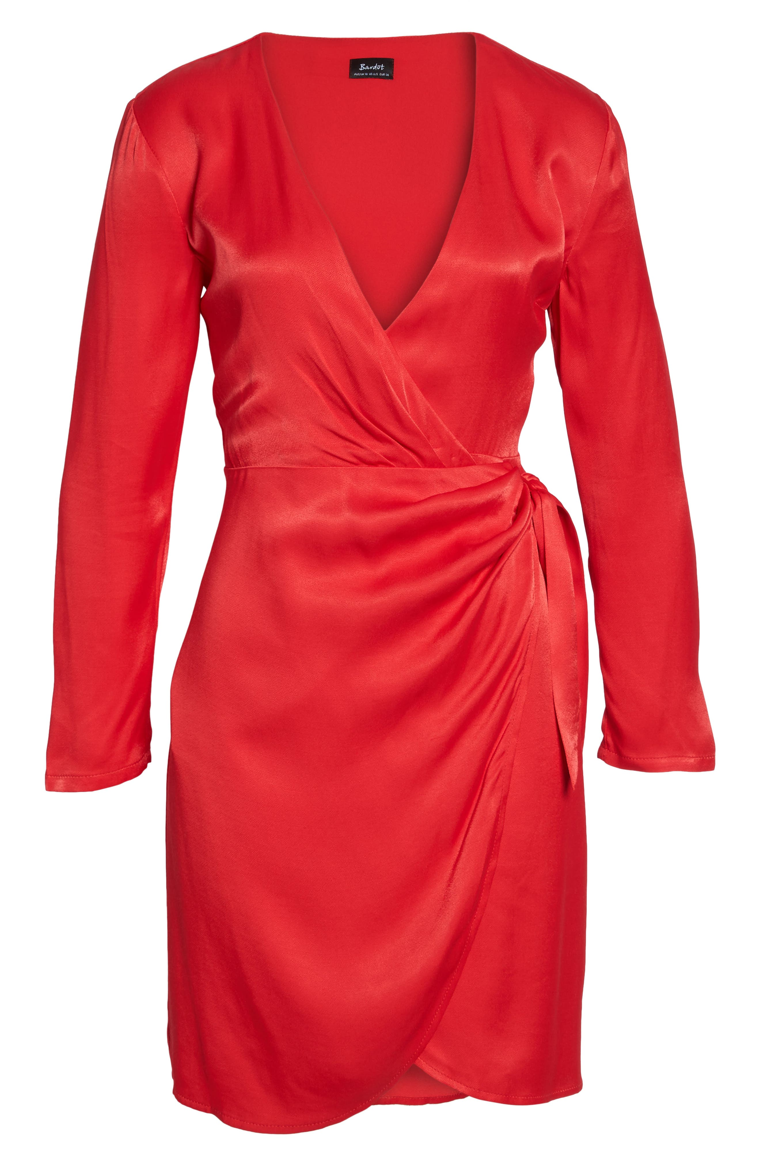 Satin Wrap Dress,                             Alternate thumbnail 6, color,                             Raspberry