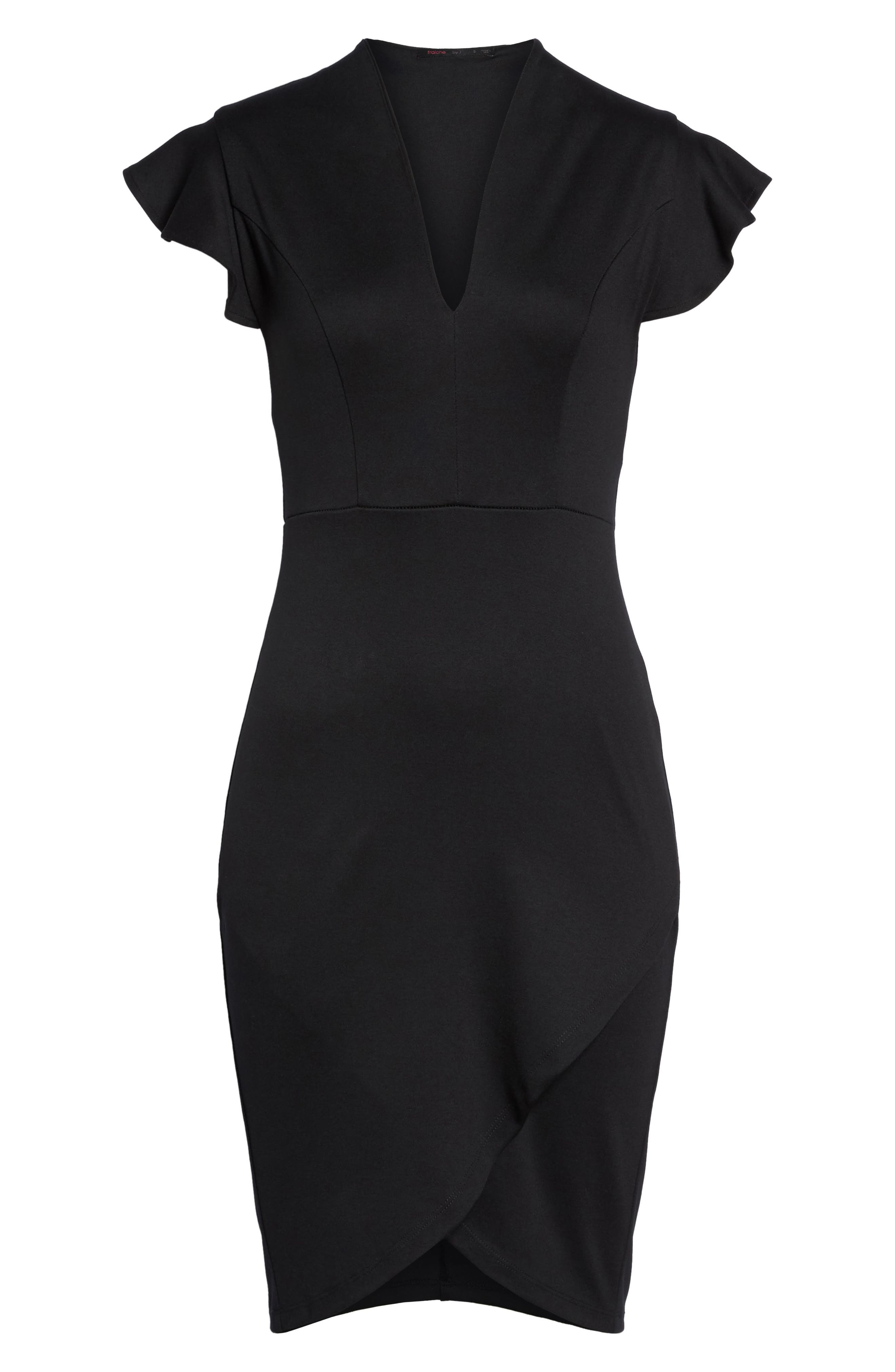 Flutter Sleeve Sheath Dress,                             Alternate thumbnail 6, color,                             Black
