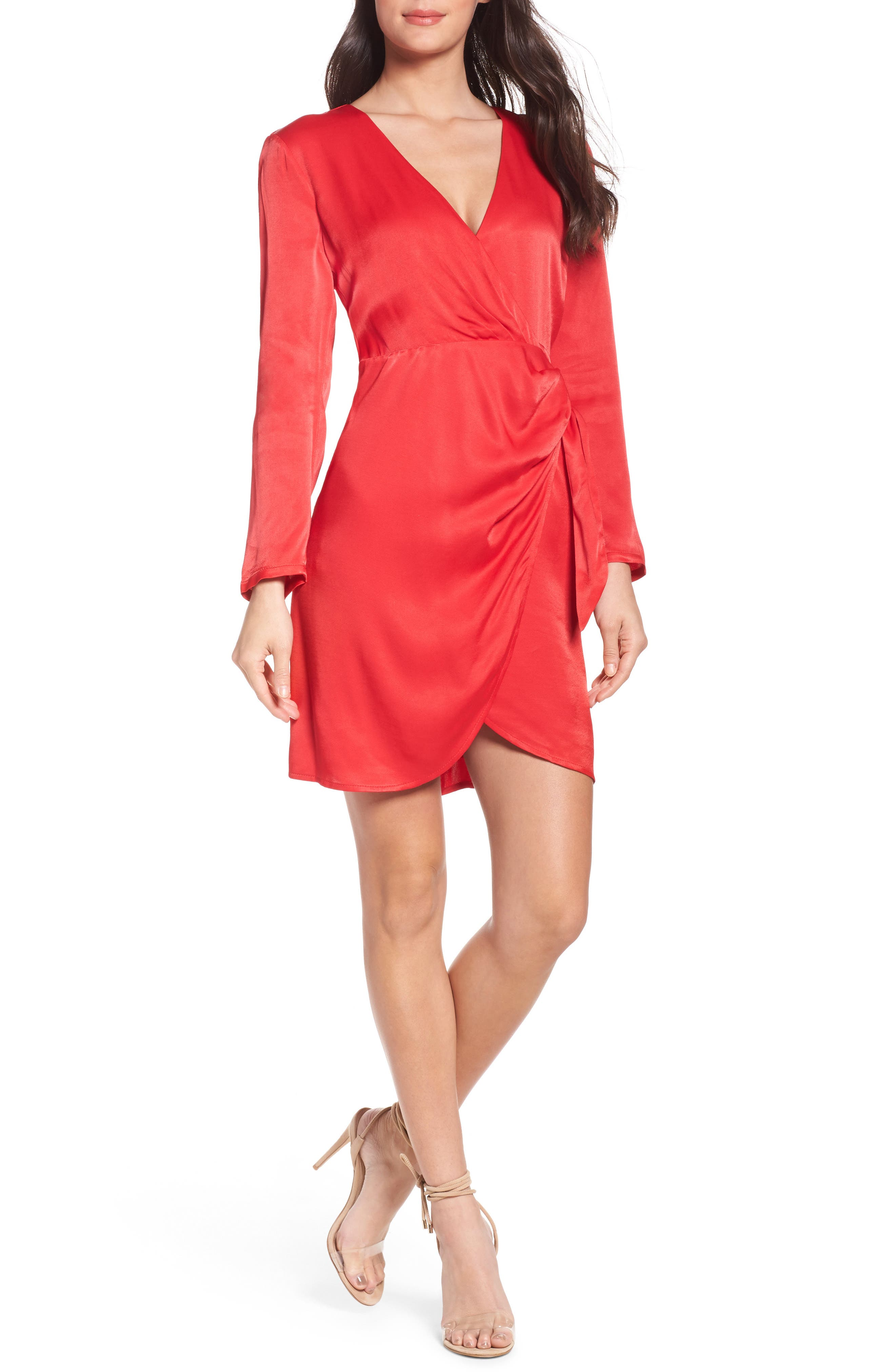 Satin Wrap Dress,                             Main thumbnail 1, color,                             Raspberry
