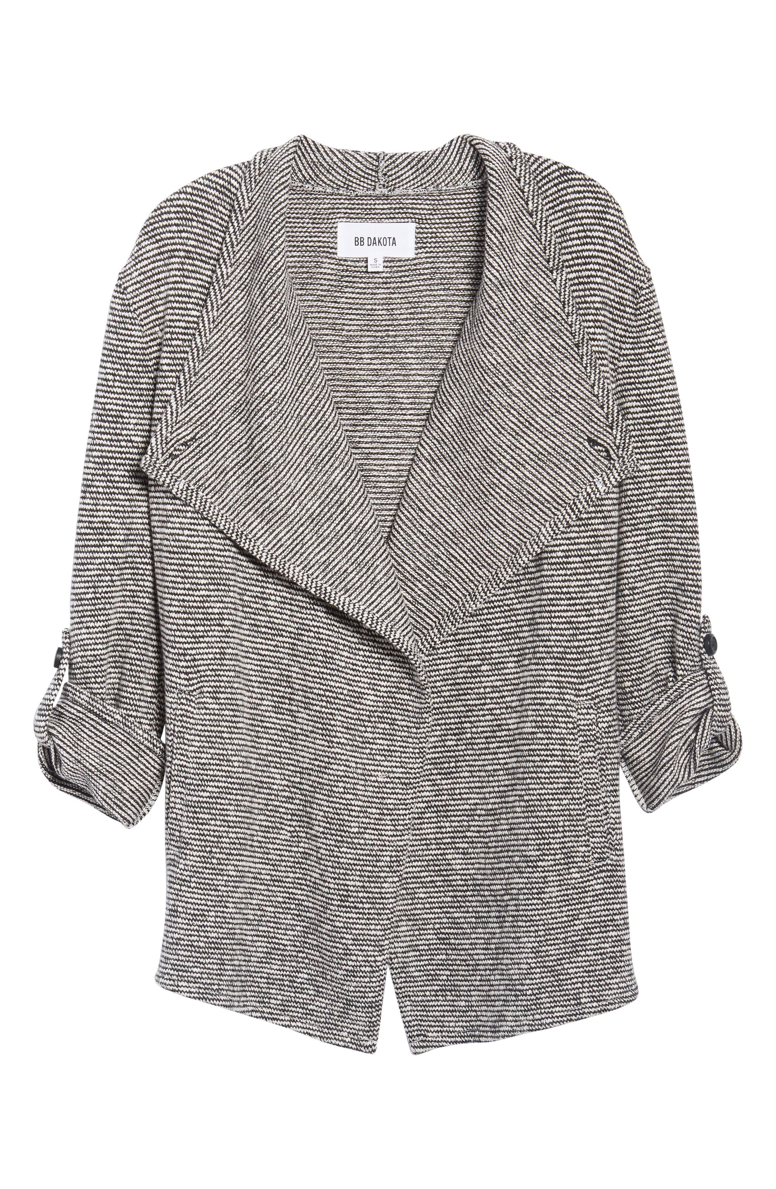 Micro Stripe Knit Drape Jacket,                             Alternate thumbnail 6, color,                             Dirty White