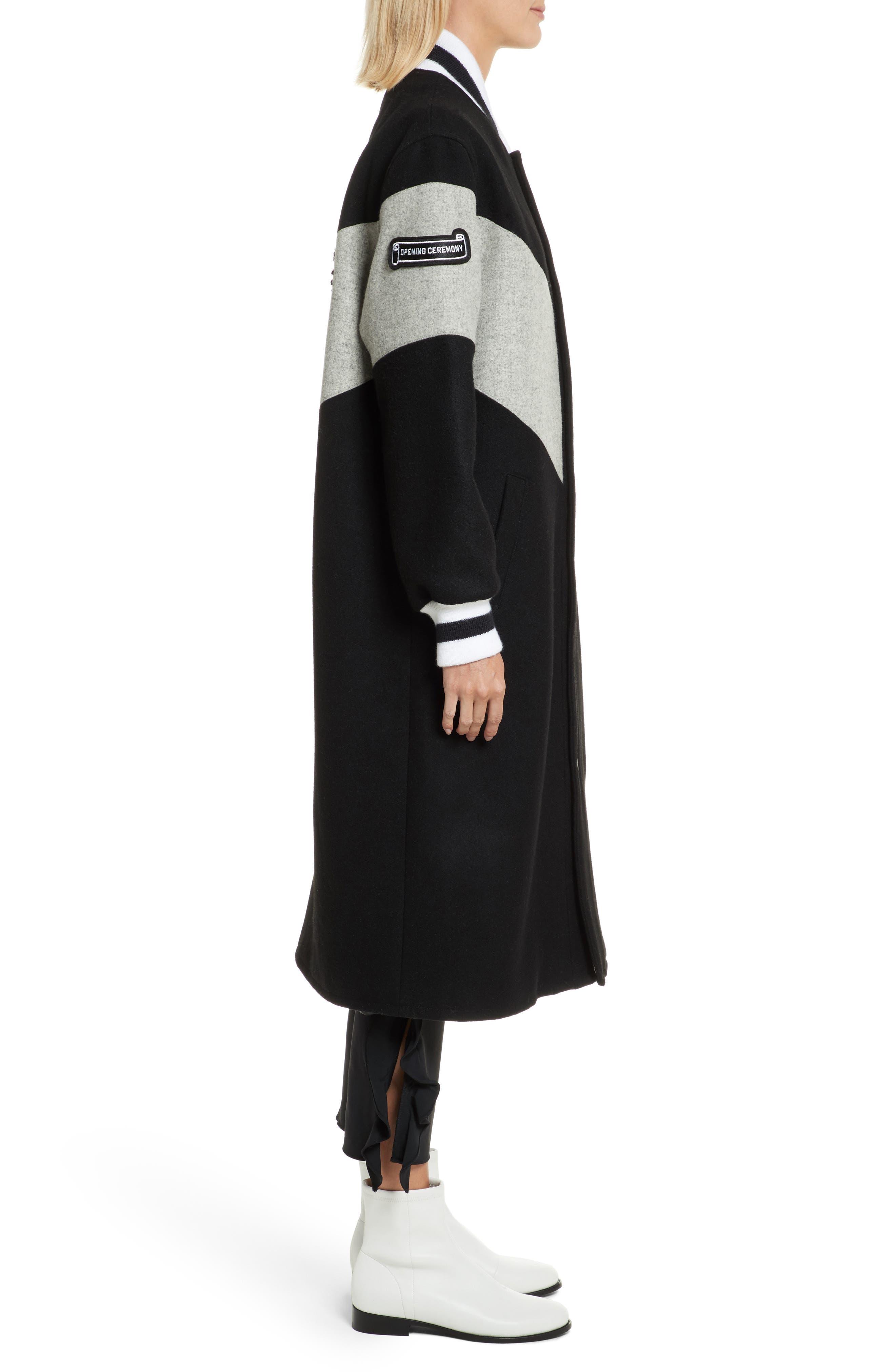 Alpha Long Varsity Jacket,                             Alternate thumbnail 3, color,                             Black
