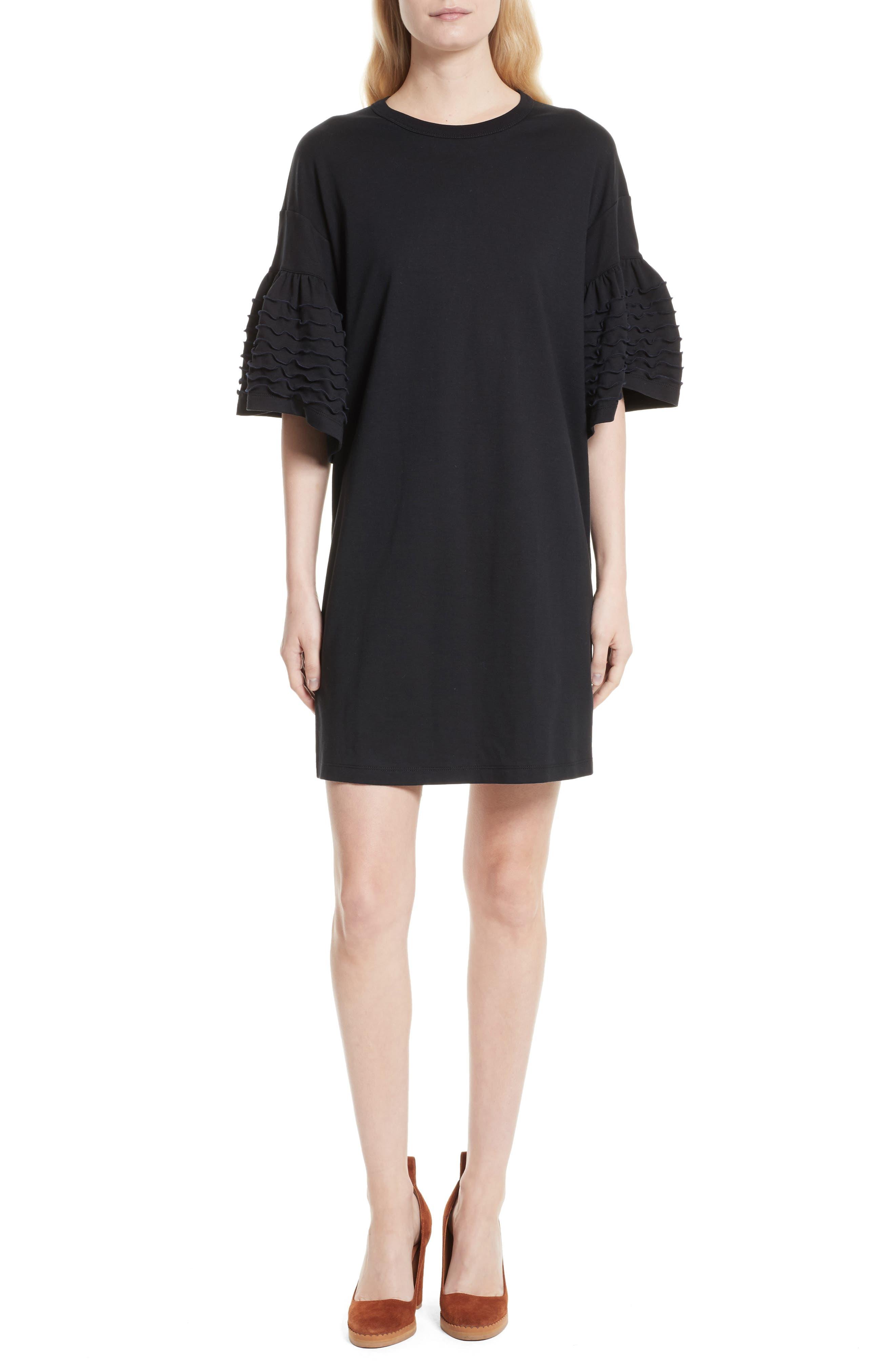 Ruffle Sleeve Cotton Shift Dress,                         Main,                         color, Black