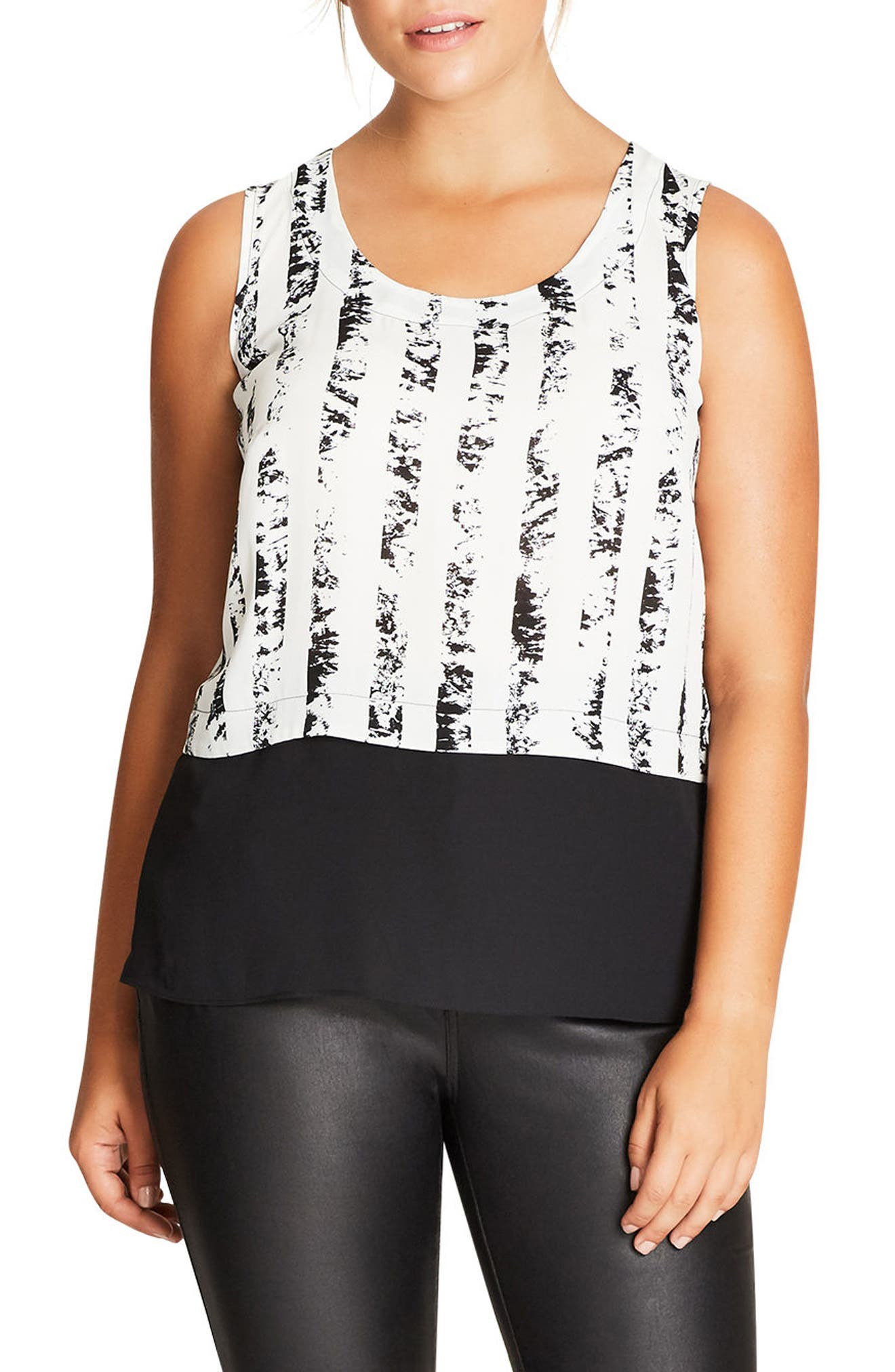 Print Overlay Top,                         Main,                         color, Ivory Stripe