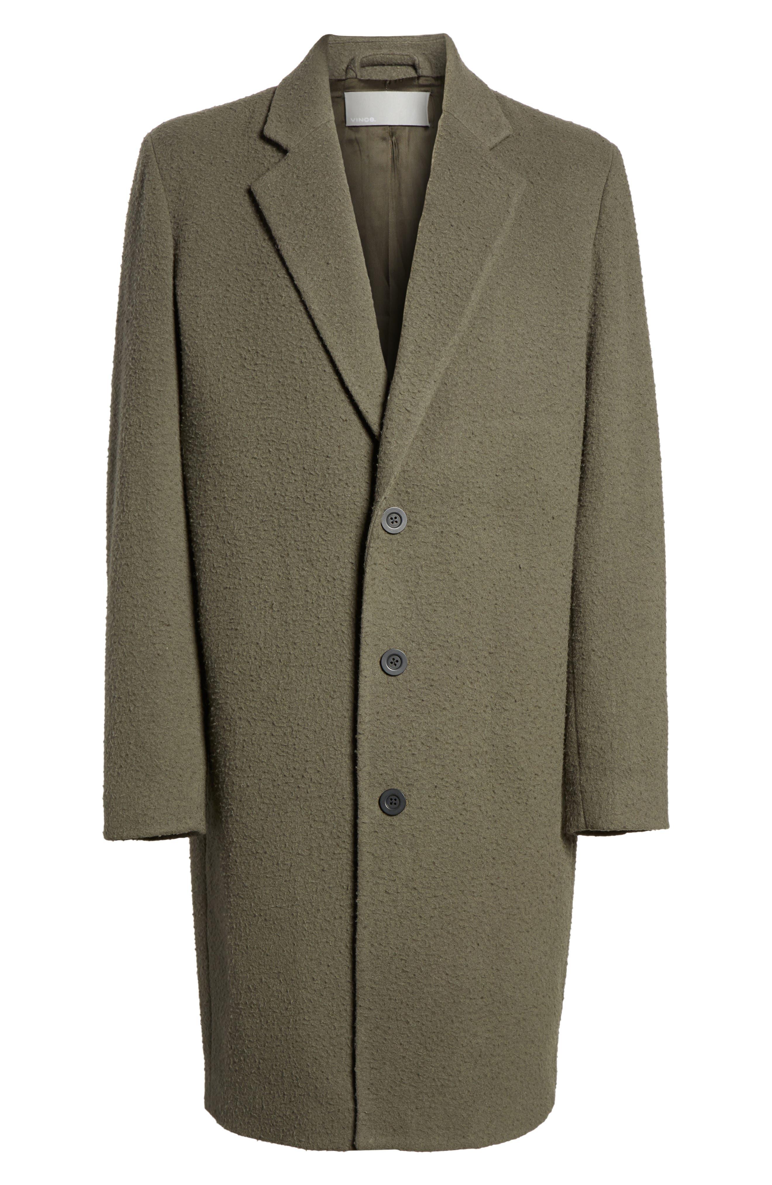 Distressed Wool Blend Car Coat,                             Alternate thumbnail 6, color,                             Olive