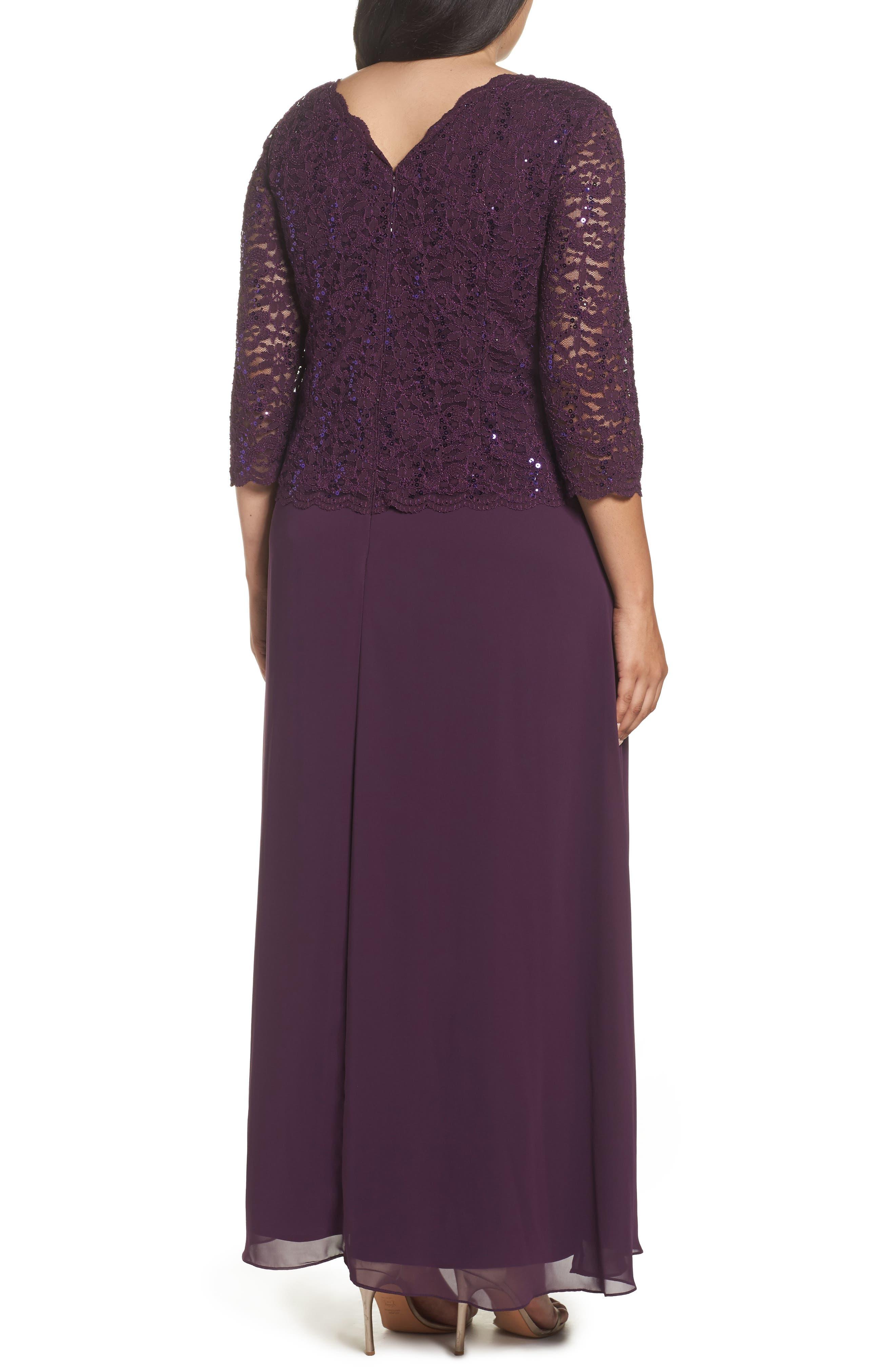 Alternate Image 2  - Alex Evenings Embellished Lace & Chiffon Gown (Plus Size)