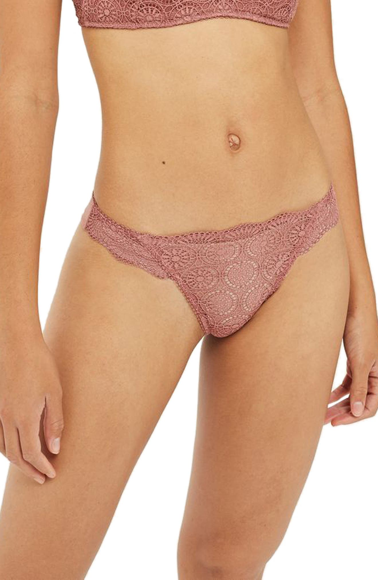 Circle Lace Panties,                         Main,                         color, Rust