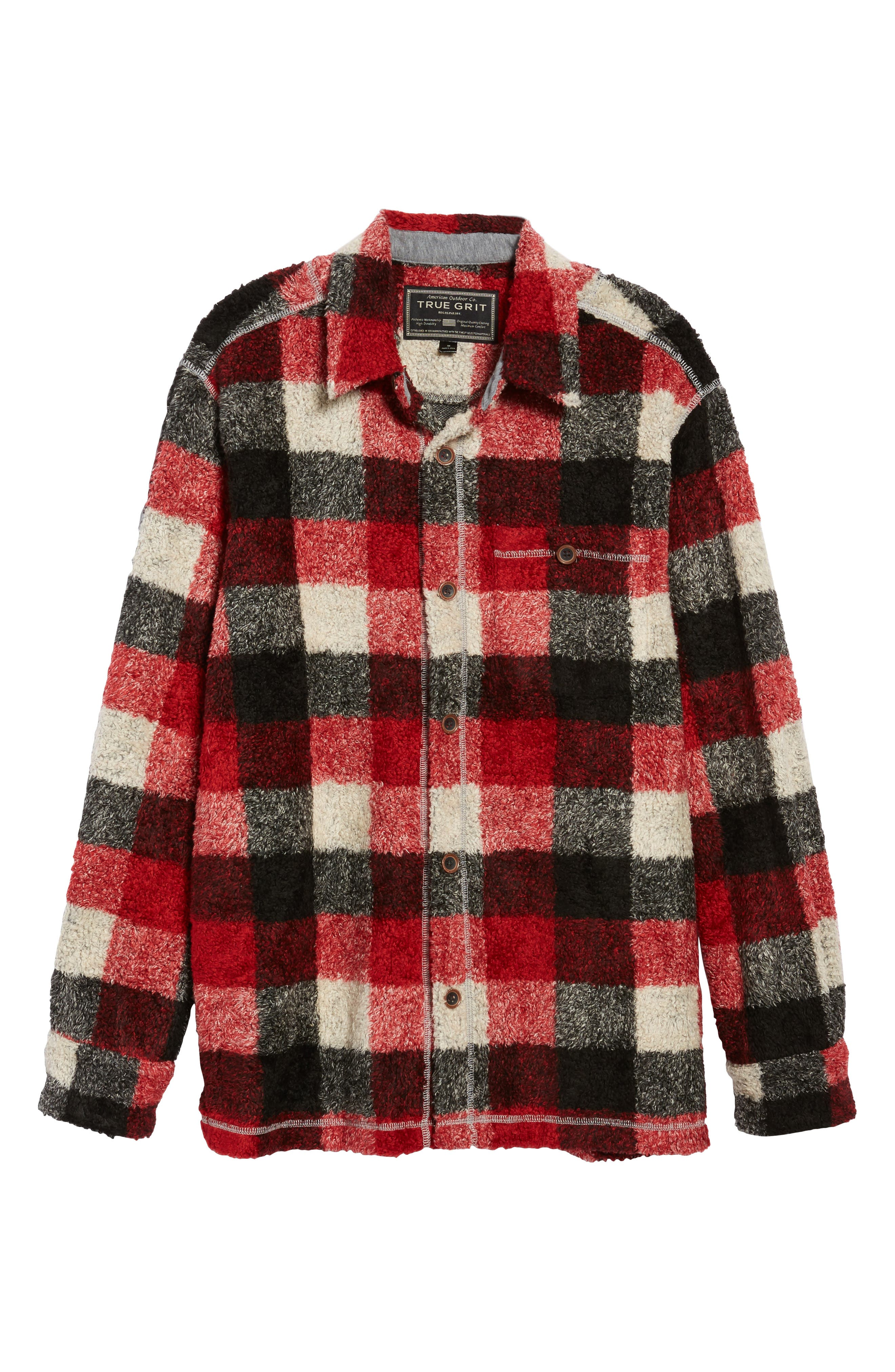 Textured Buffalo Check Shirt Jacket,                             Alternate thumbnail 6, color,                             Red/ Black