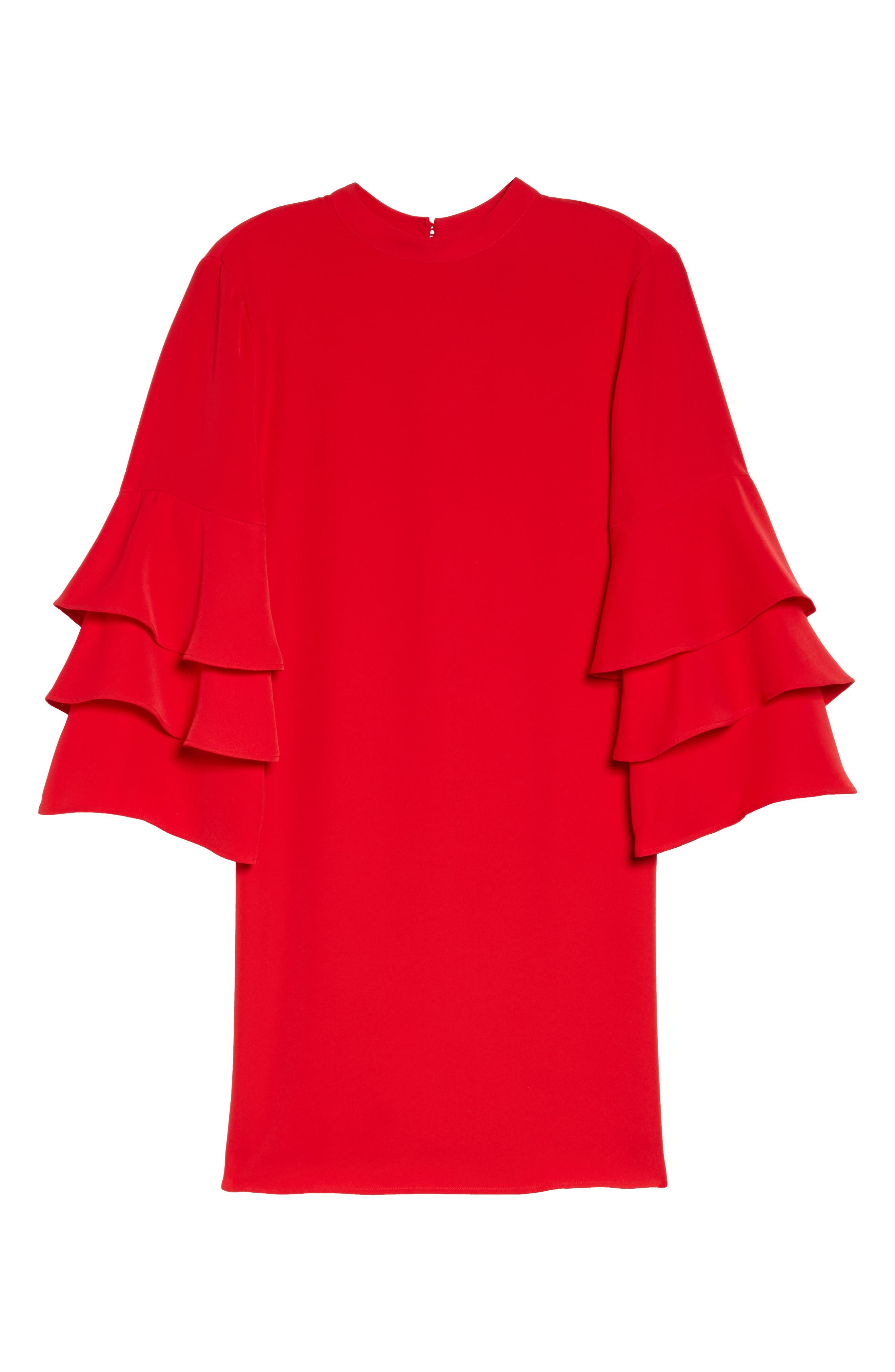 Ruffle Sleeve Shift Dress,                             Alternate thumbnail 6, color,                             Red Mars