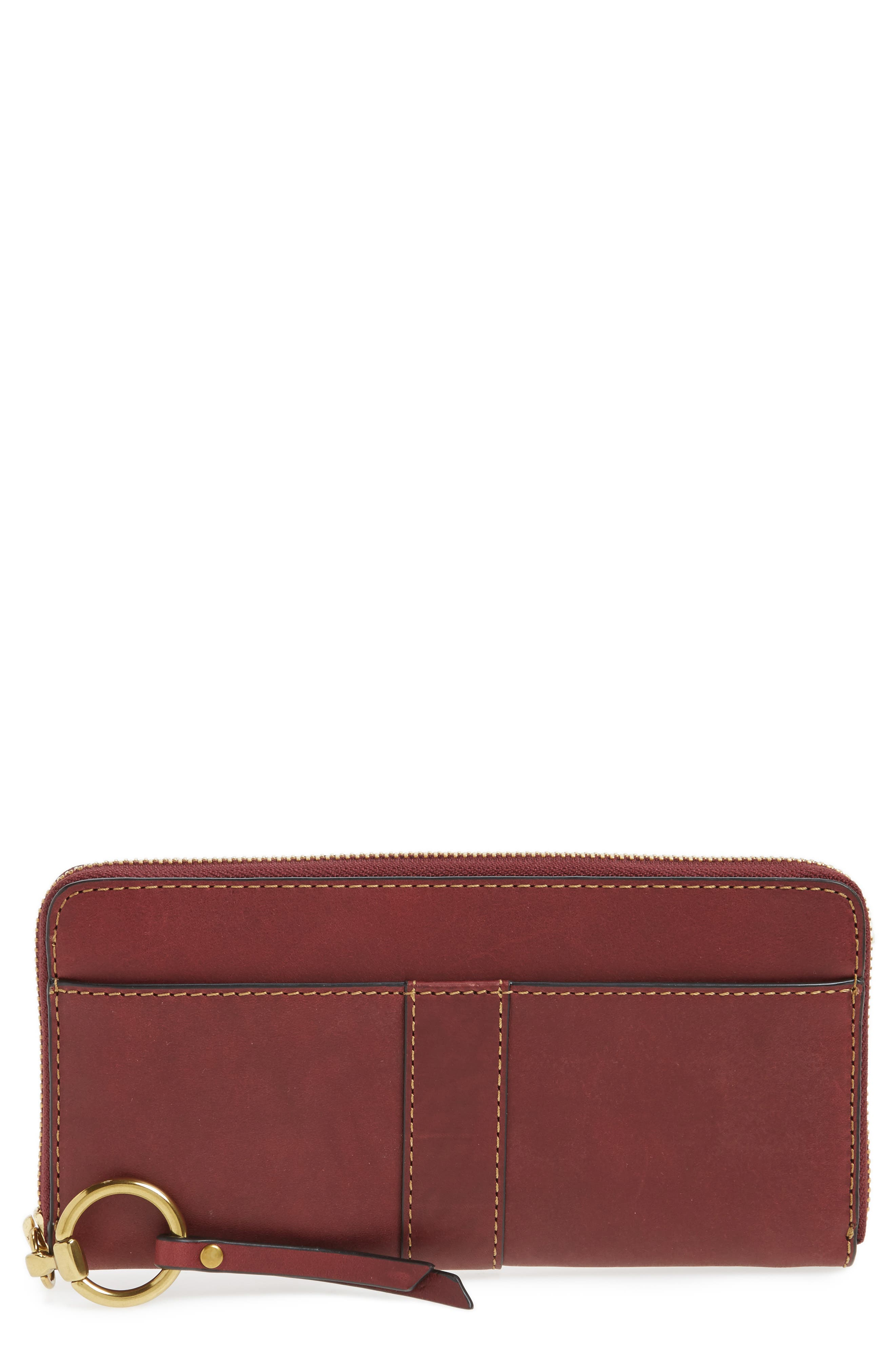Ilana Harness Leather Zip Wallet,                             Main thumbnail 1, color,                             Wine