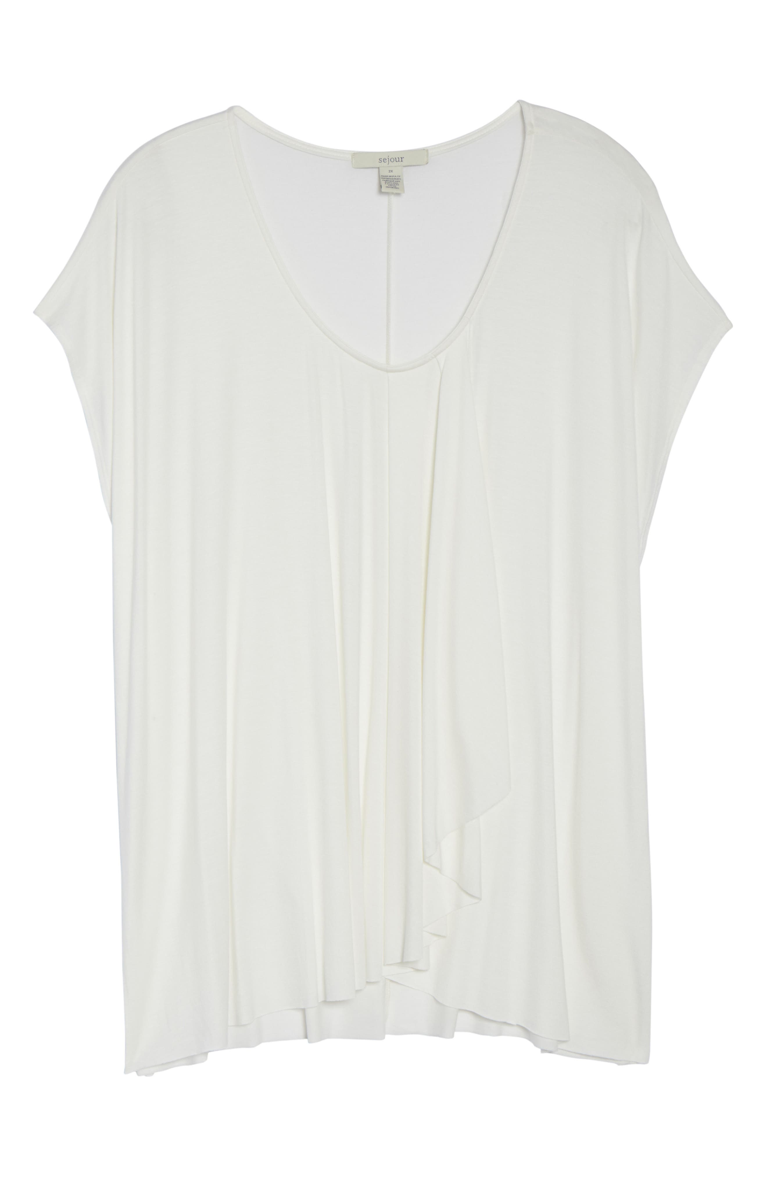 Pleat Front Tee,                             Alternate thumbnail 6, color,                             Ivory Cloud