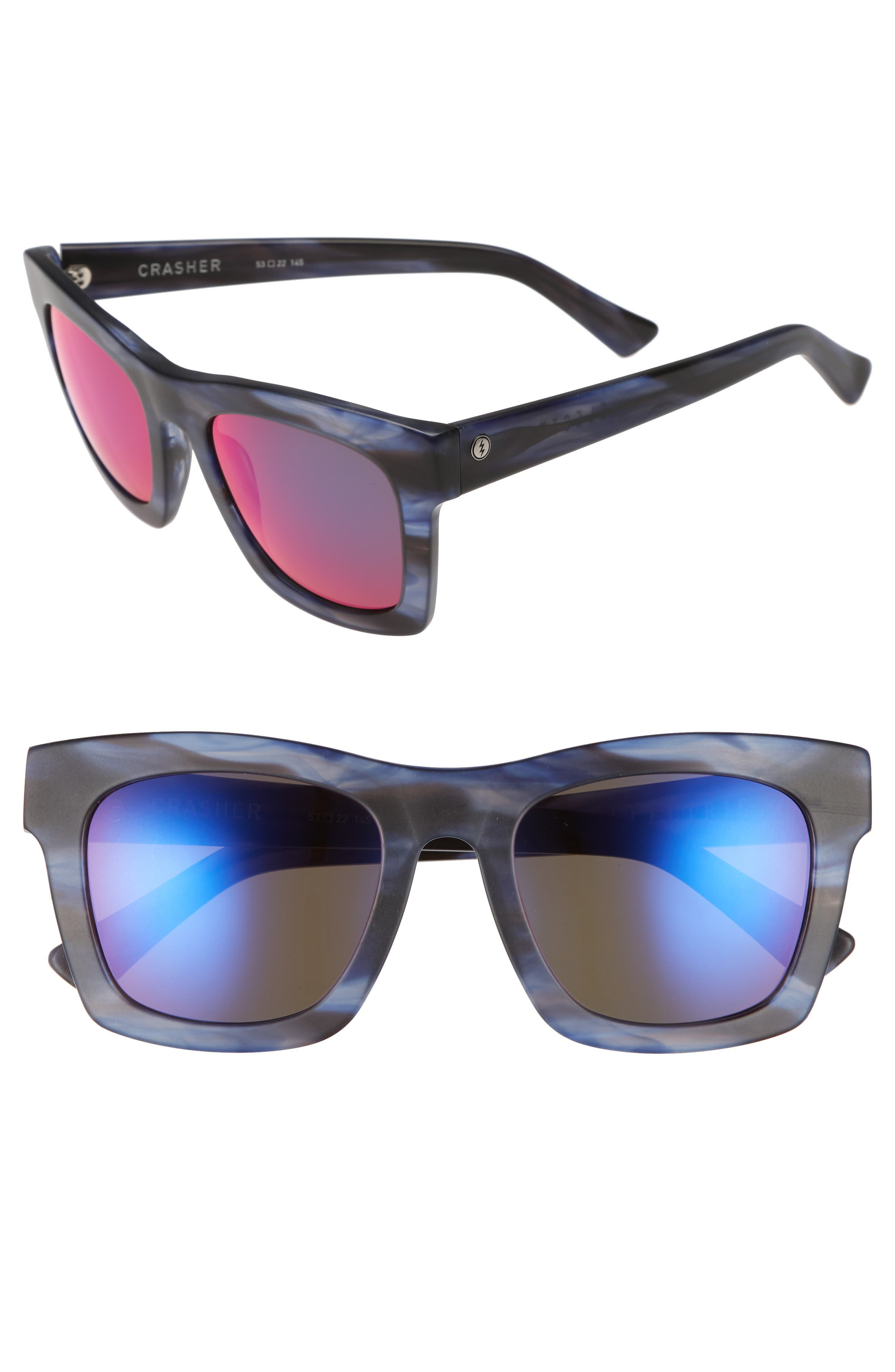 Crasher 53mm Mirrored Sunglasses,                             Main thumbnail 1, color,                             Skyline/ Plasma