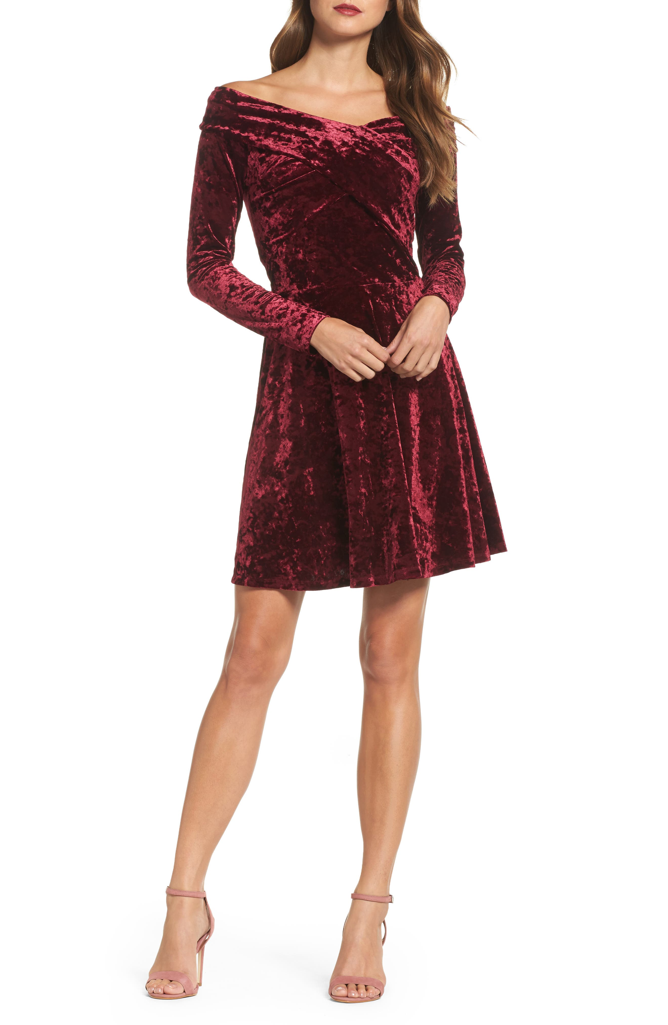 Off the Shoulder Velvet A-Line Dress,                             Main thumbnail 1, color,                             Burgundy Fig