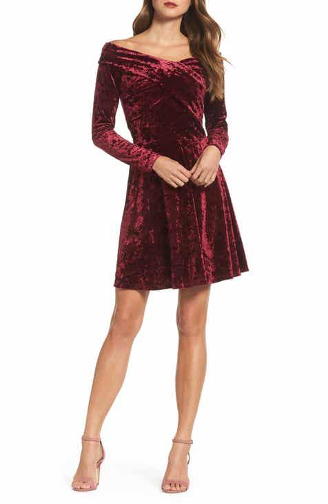 Chelsea28 Off The Shoulder Velvet Fit Flare Tail Dress