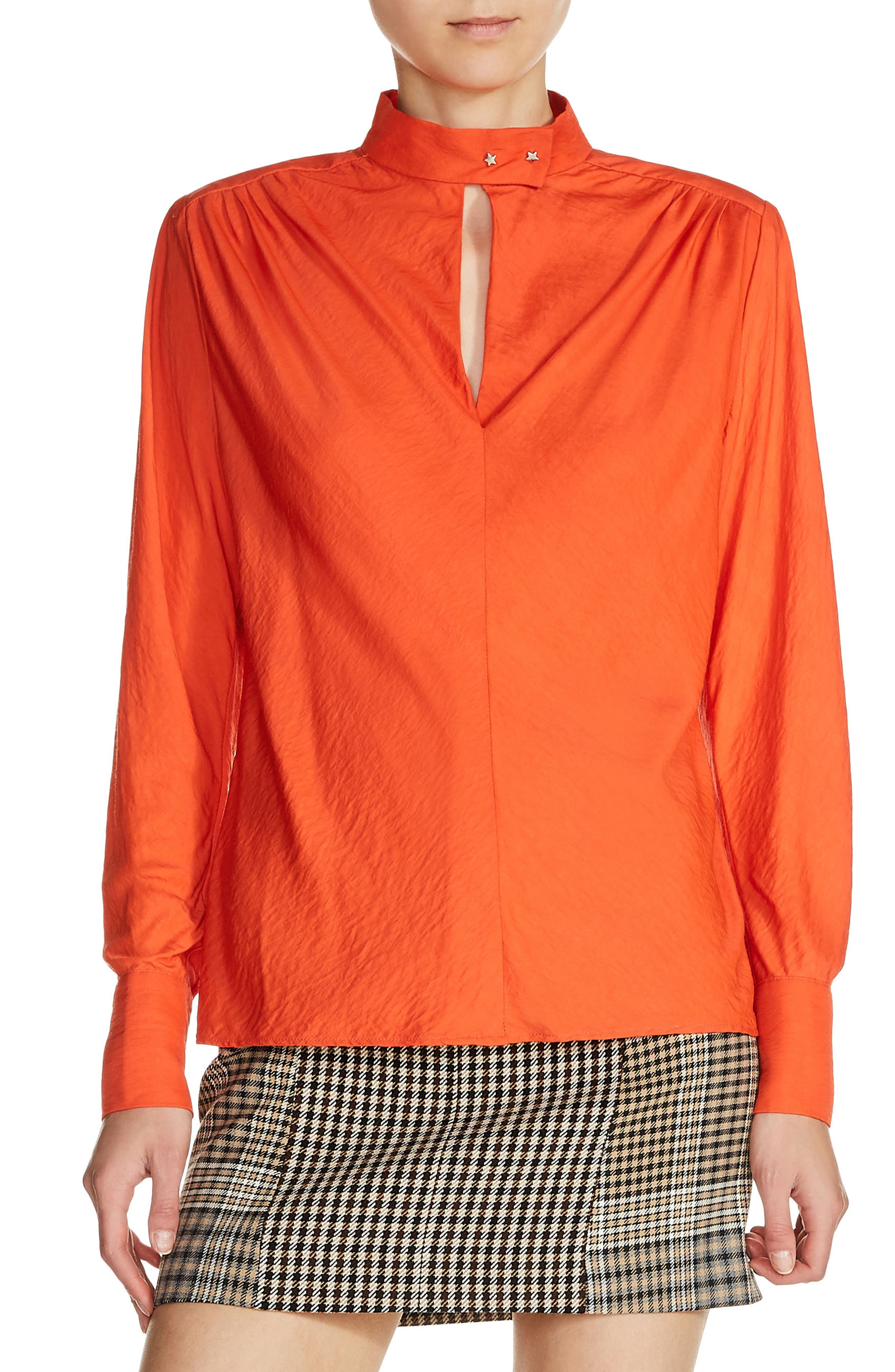 Star Snap Stand Collar Blouse,                         Main,                         color, Orange