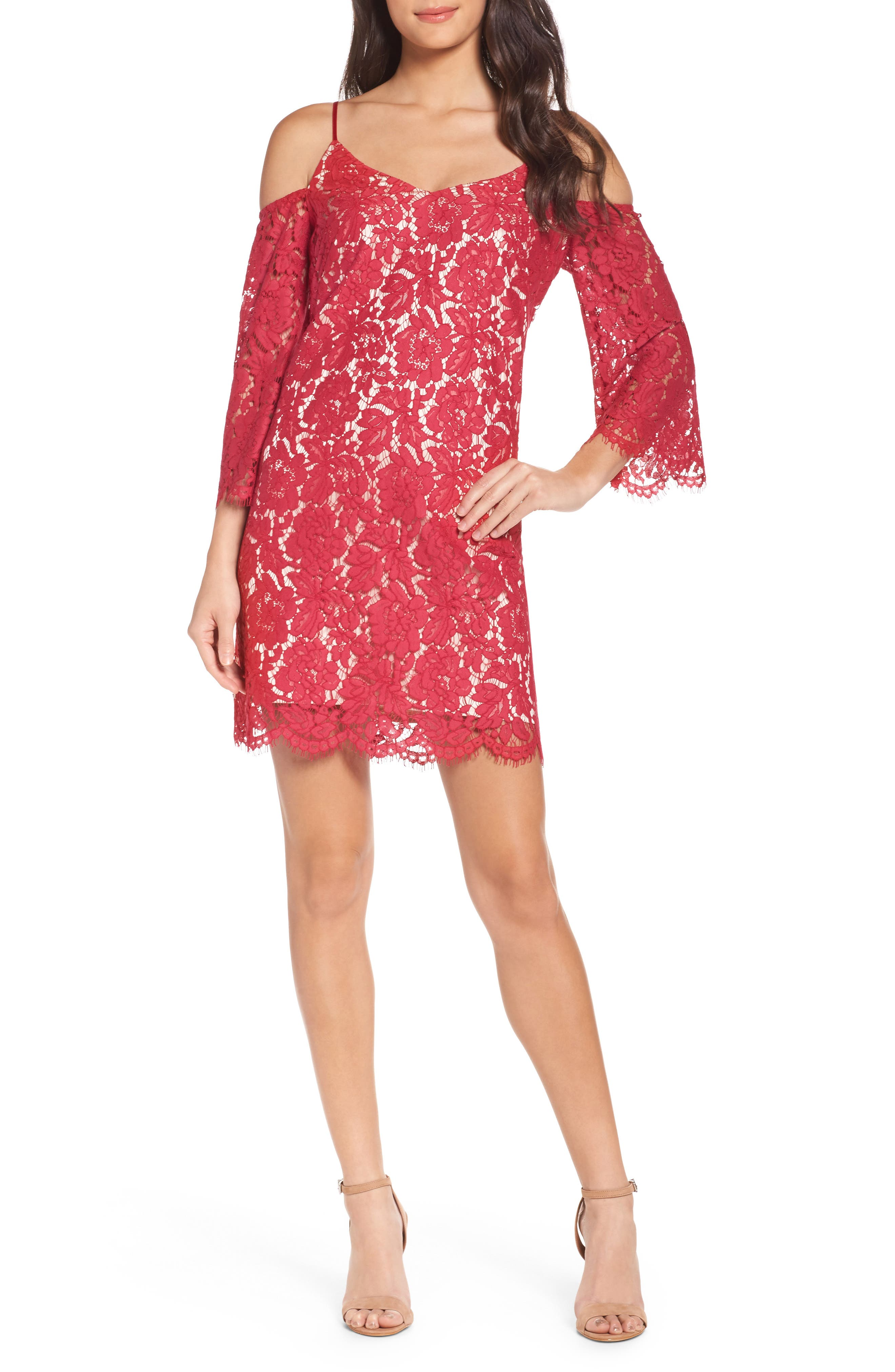Cold Shoulder Lace Shift Dress,                         Main,                         color, Red Cerise