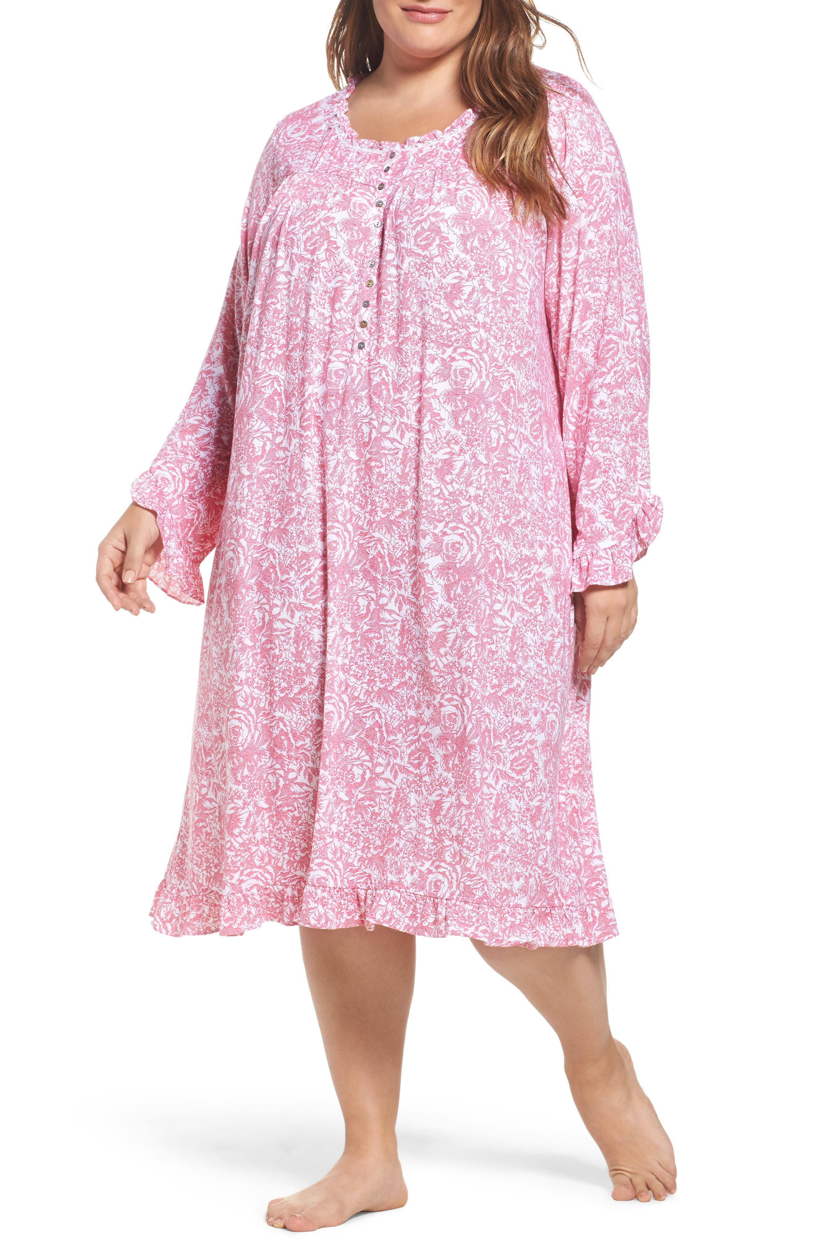 Waltz Stretch Modal Nightgown,                         Main,                         color, White With Red Floral