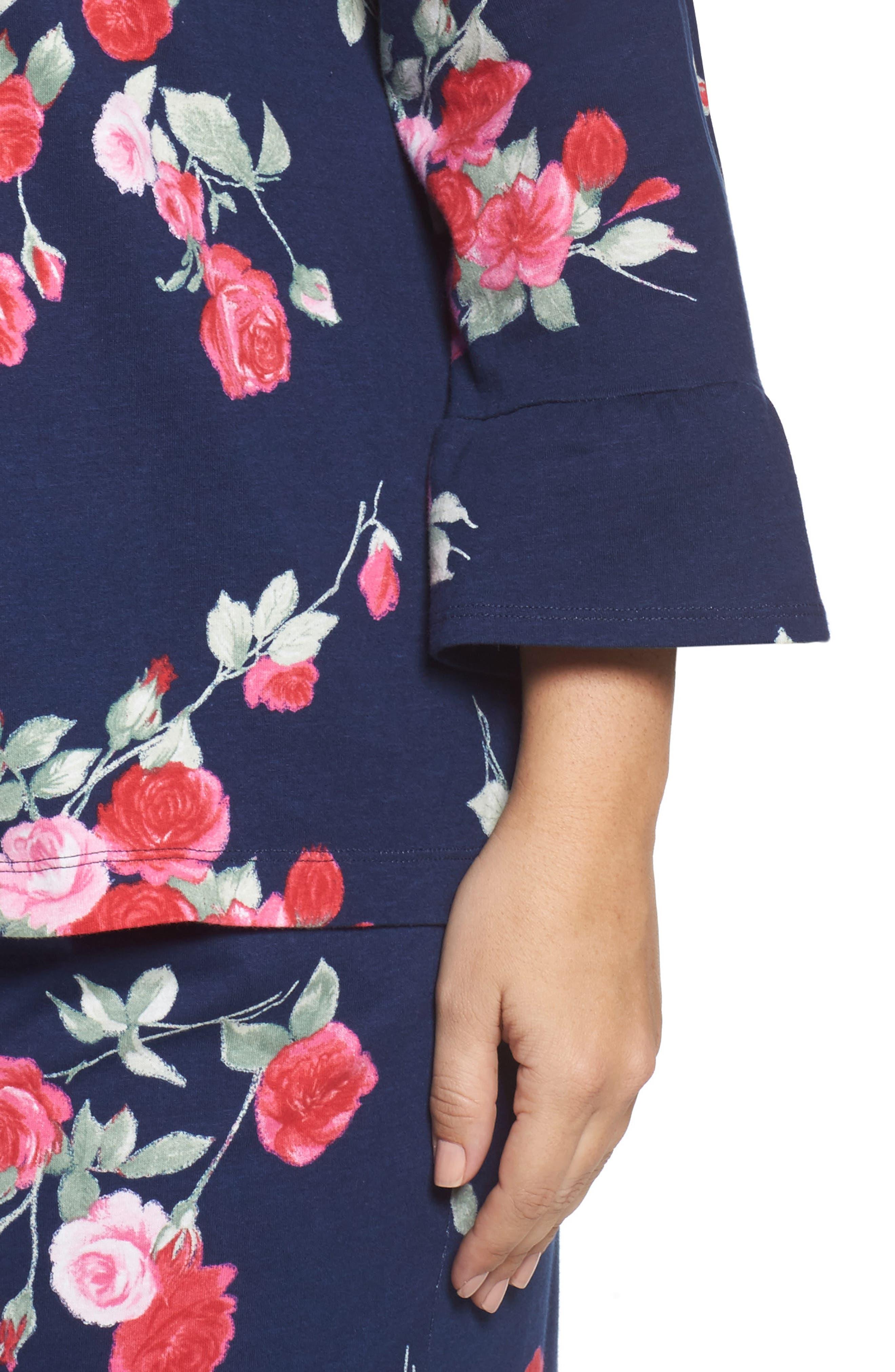Floral Print Pajamas,                             Alternate thumbnail 5, color,                             Painted Rose