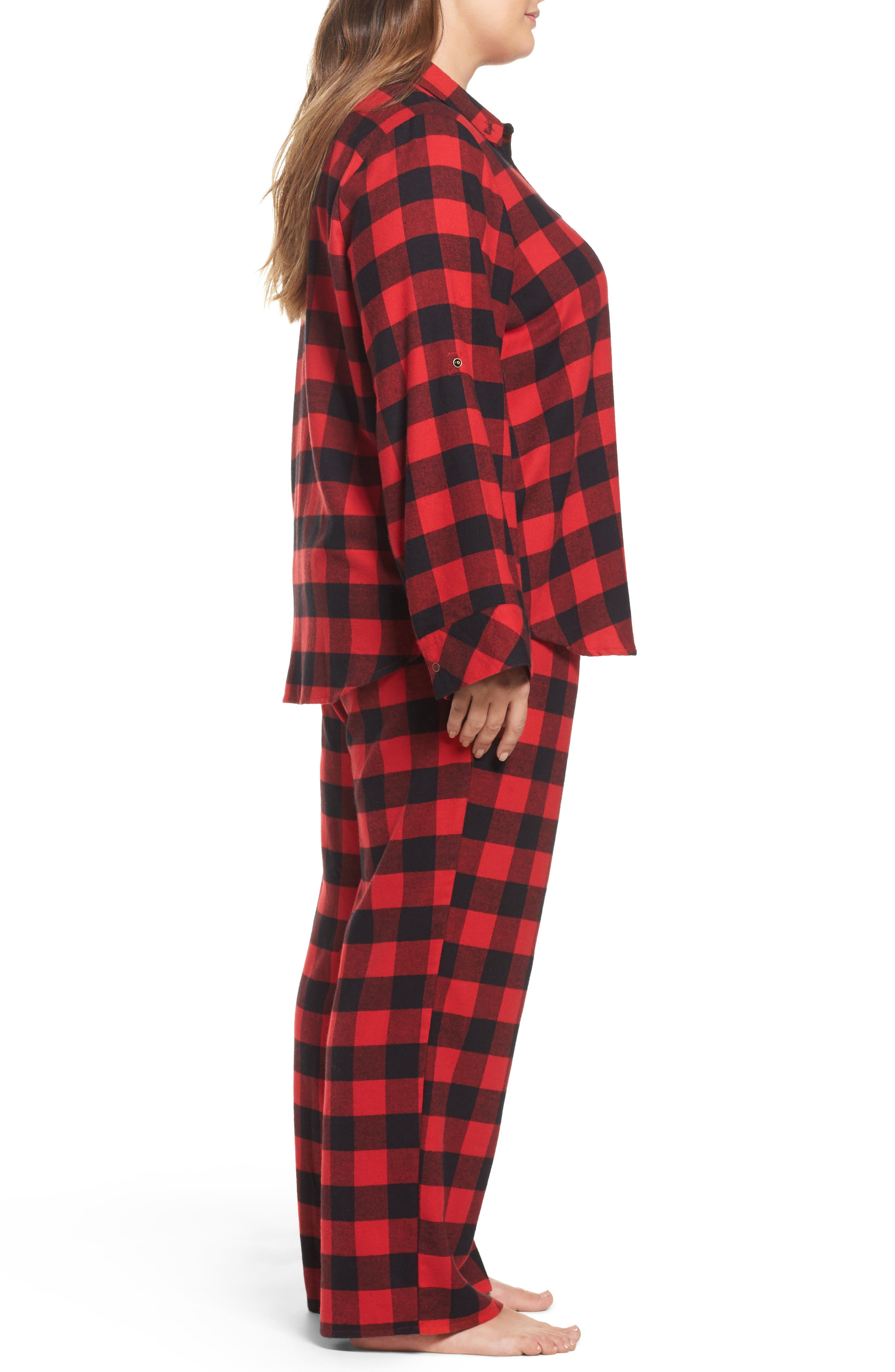 Flannel Pajamas,                             Alternate thumbnail 3, color,                             Red Pepper Buffalo Check