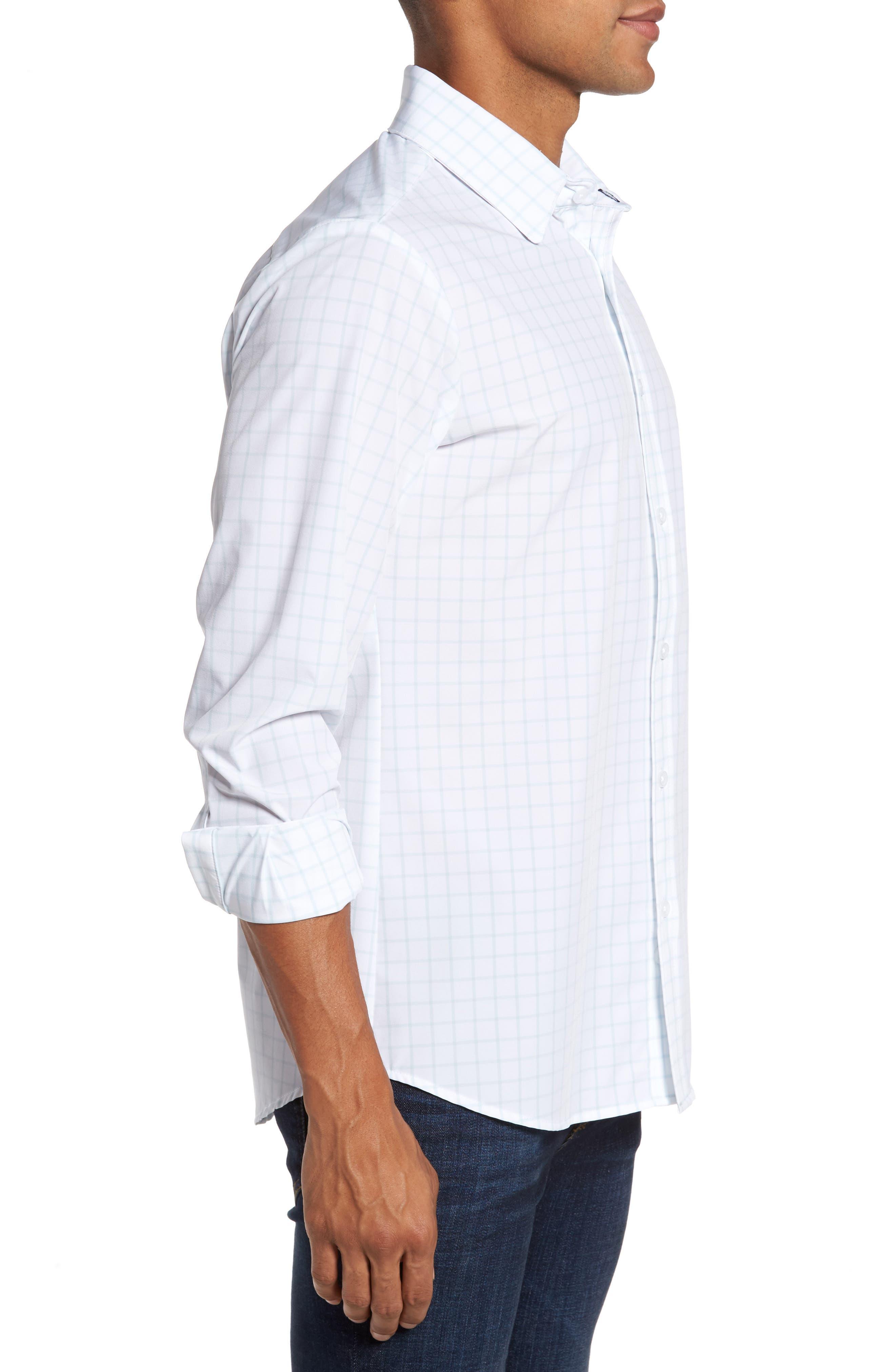 Blue Label Hull Slim Fit Crosshatch Sport Shirt,                             Alternate thumbnail 4, color,                             Blue
