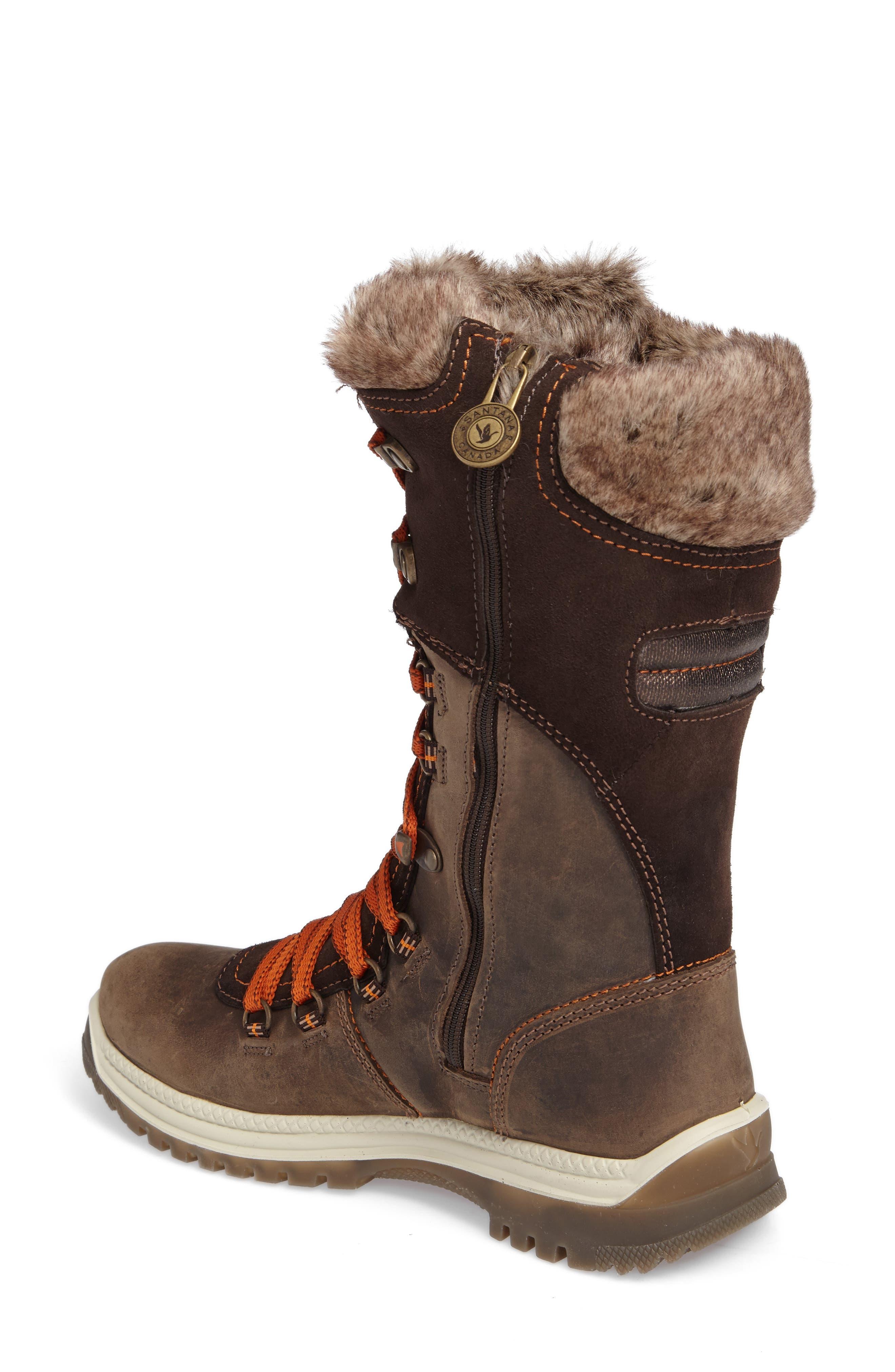 'Morella' Water Resistant Faux Fur Boot,                             Alternate thumbnail 2, color,                             Dark Brown Leather
