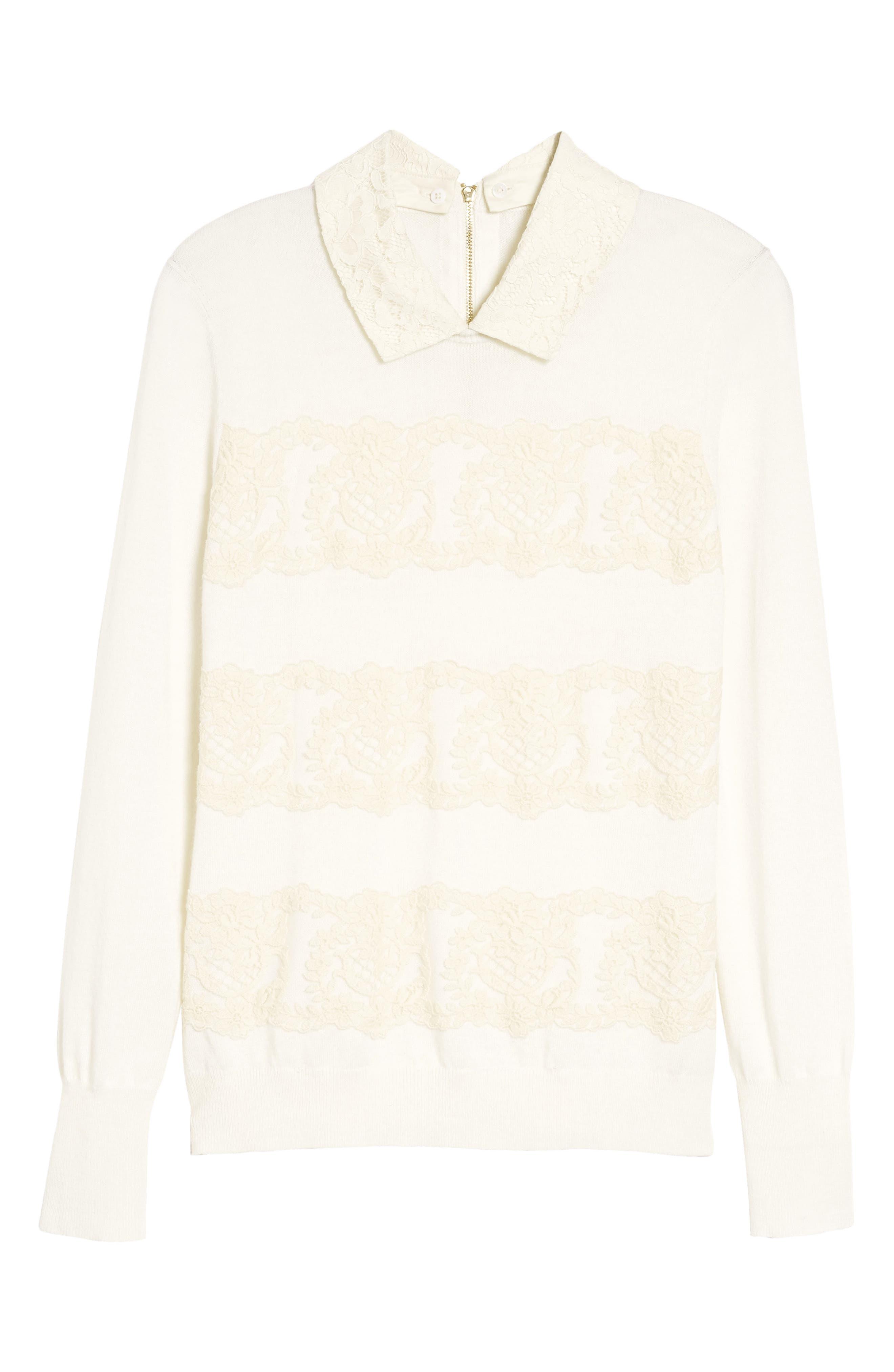Alternate Image 6  - Draper James Lace Collar Augusta Sweater