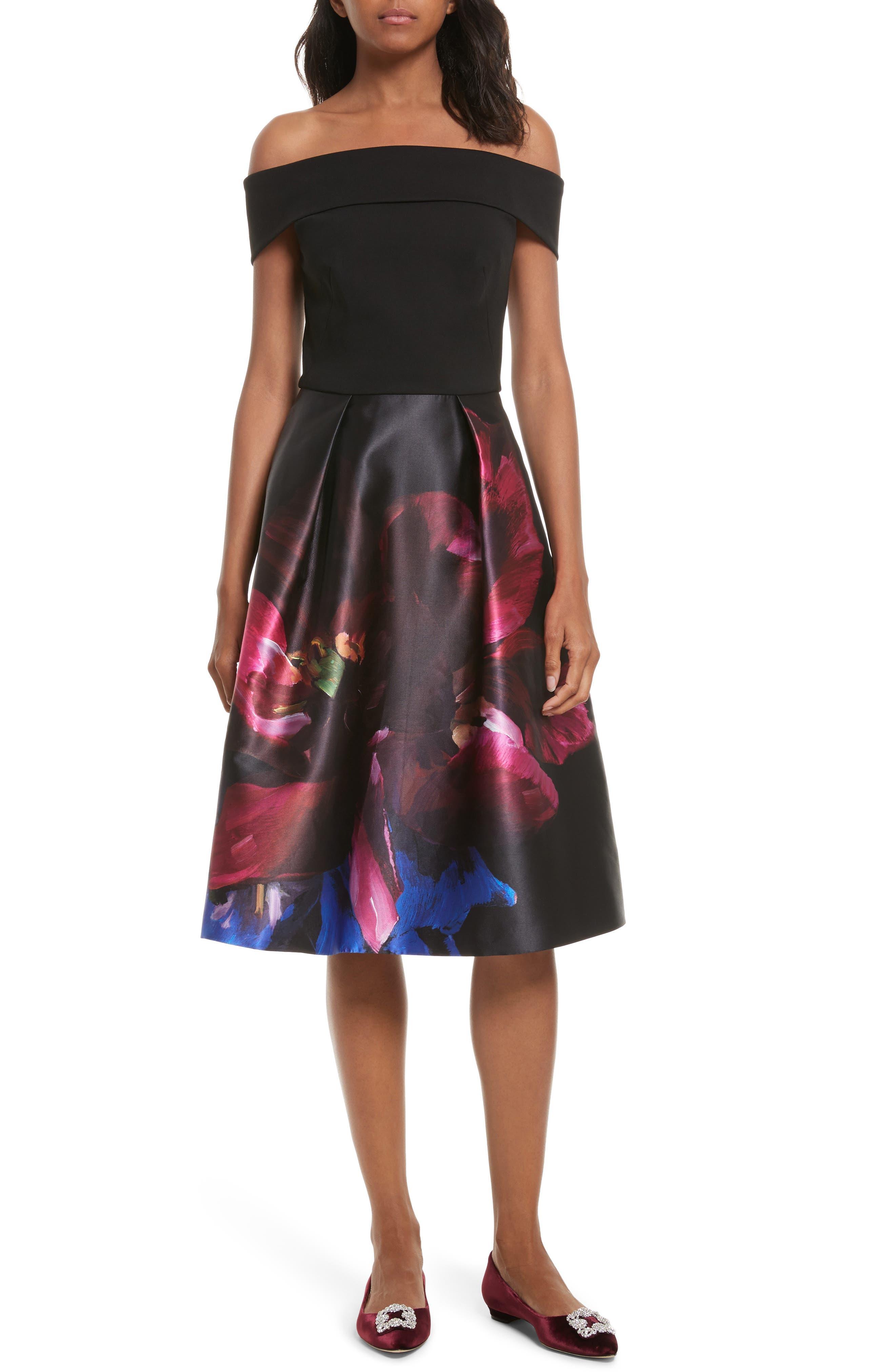 Kimey Impressionist Fit & Flare Dress,                             Main thumbnail 1, color,                             Black