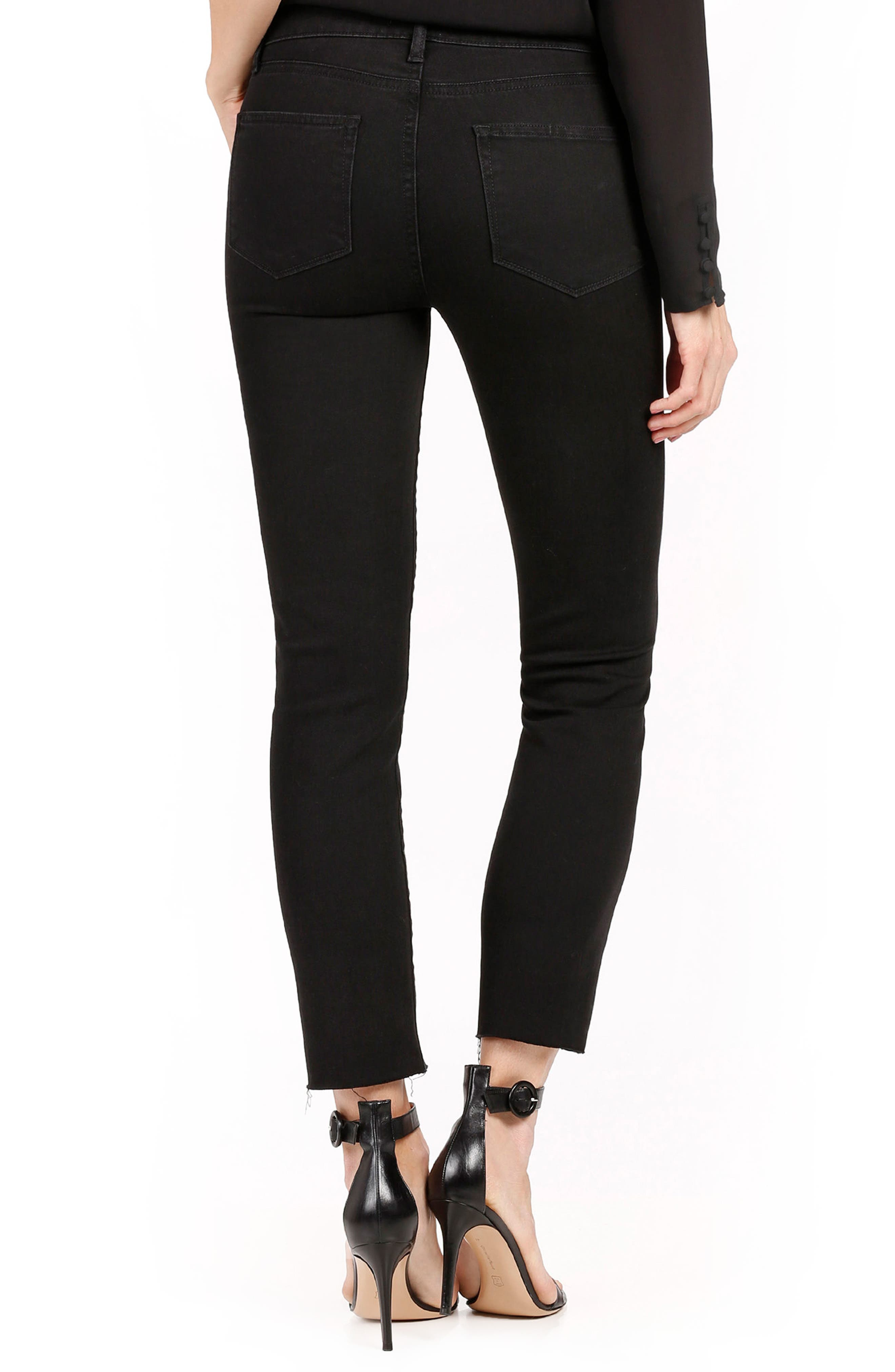 Alternate Image 3  - PAIGE Jacqueline High Waist Ankle Straight Leg Jeans (Onyx)