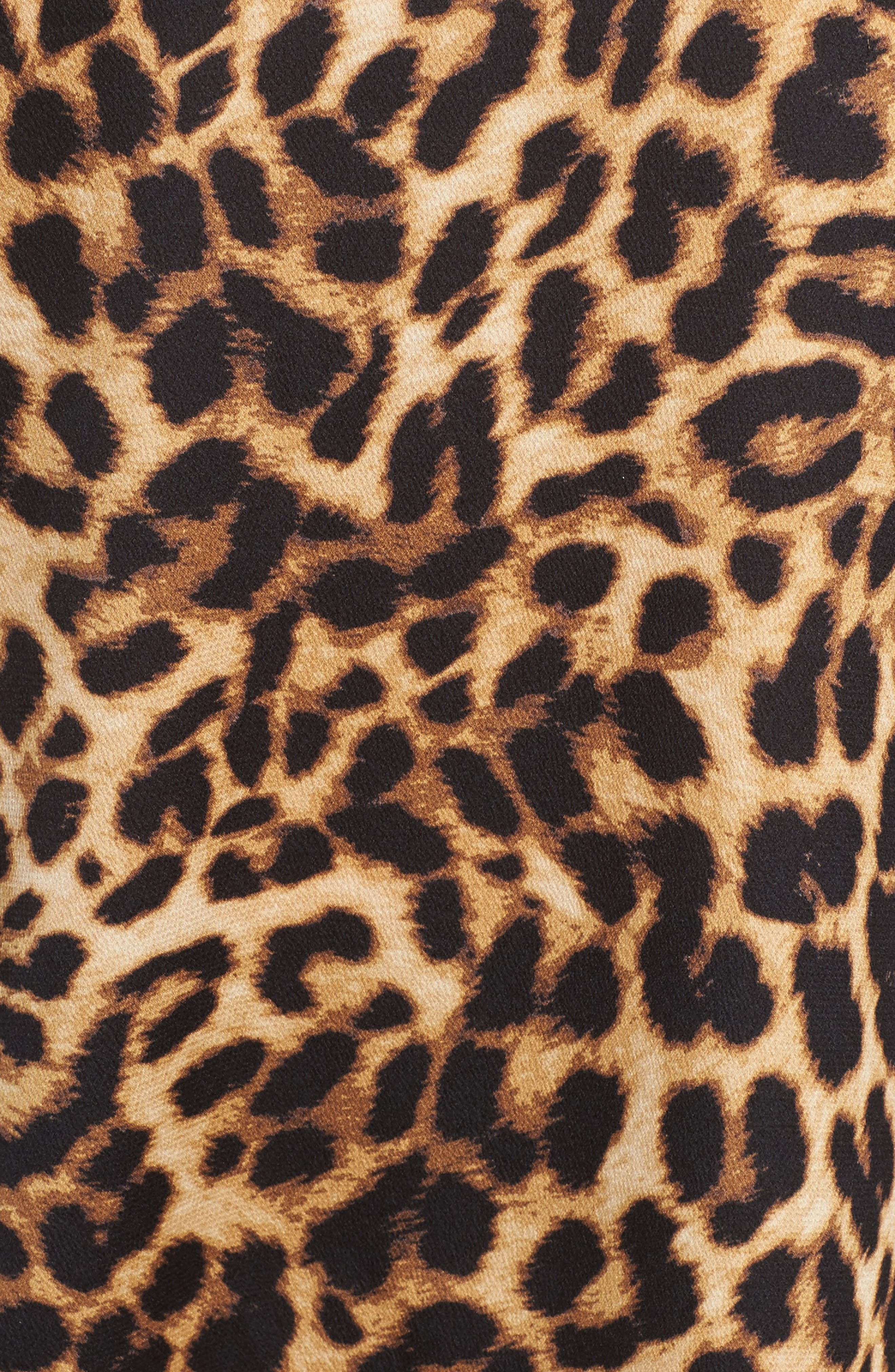 Mock Choker Neck Leopard Print Top,                             Alternate thumbnail 5, color,                             Rich Black