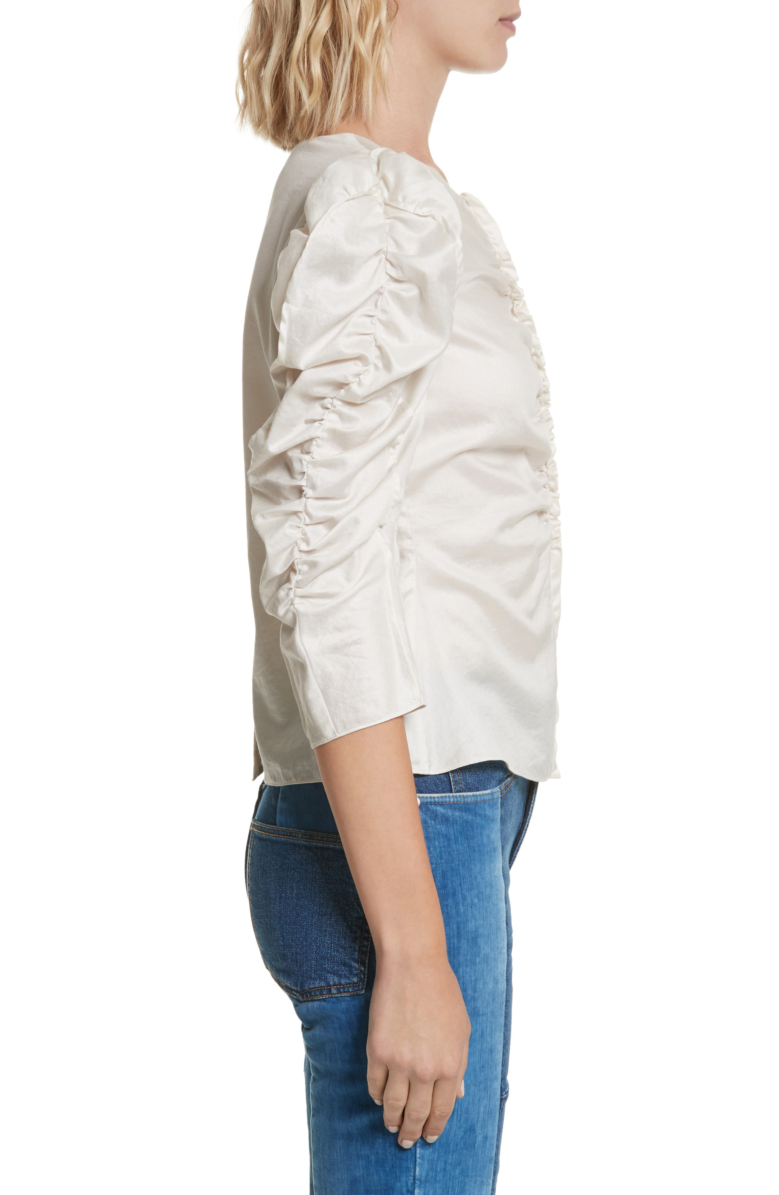Washed Sateen Top,                             Alternate thumbnail 3, color,                             Sand