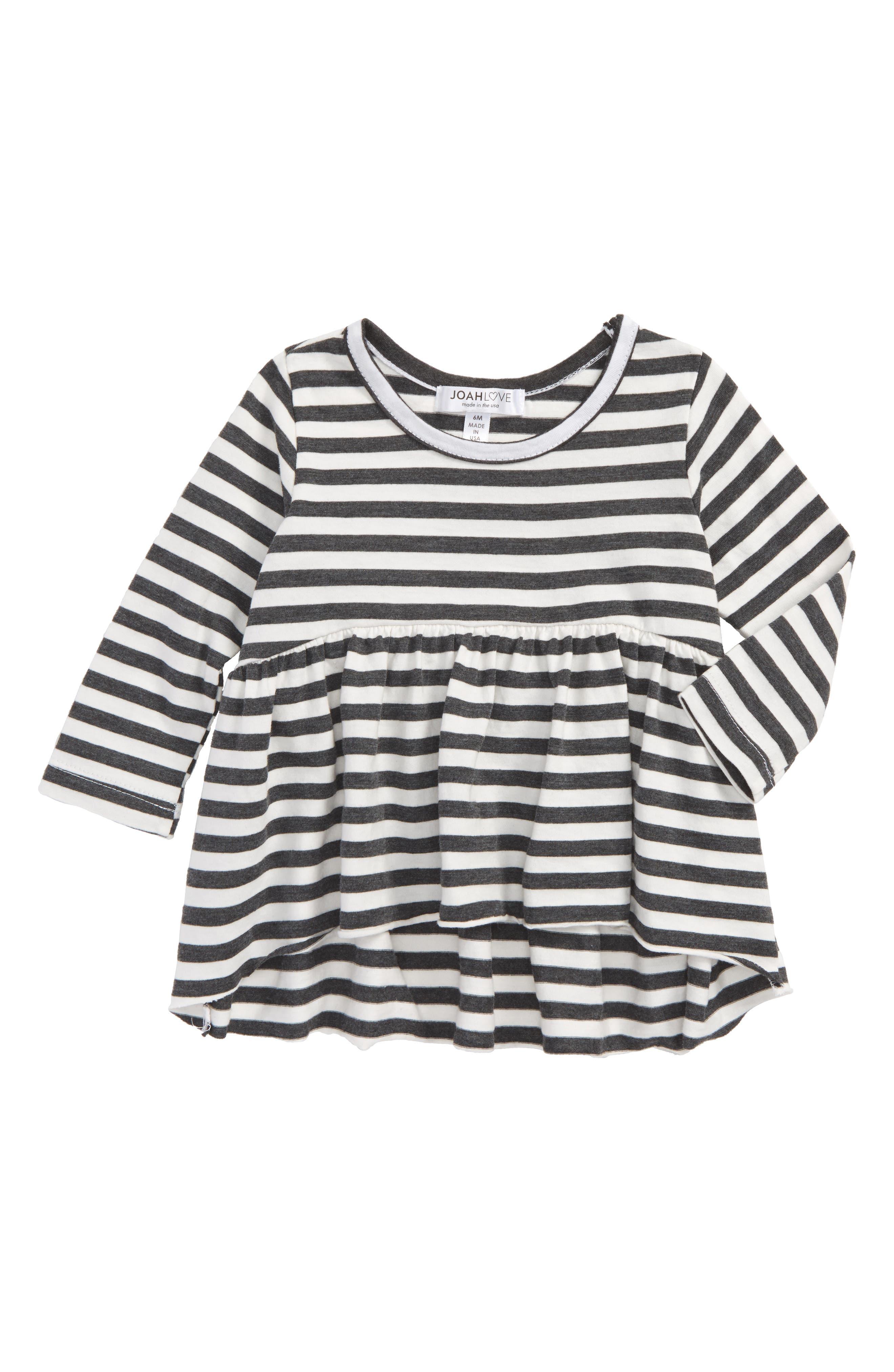 Stripe Peplum Tee,                         Main,                         color, Black/ White