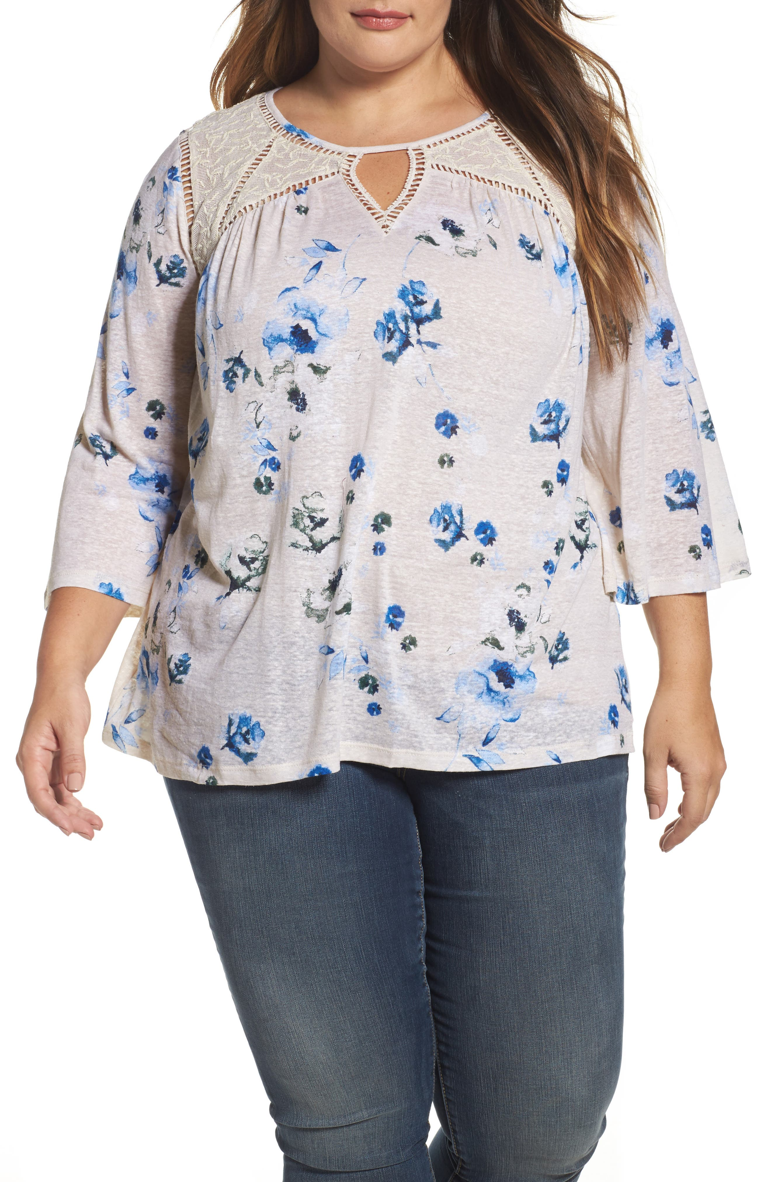 Alternate Image 1 Selected - Lucky Brand Lace Yoke Floral Peasant Top (Plus Size)