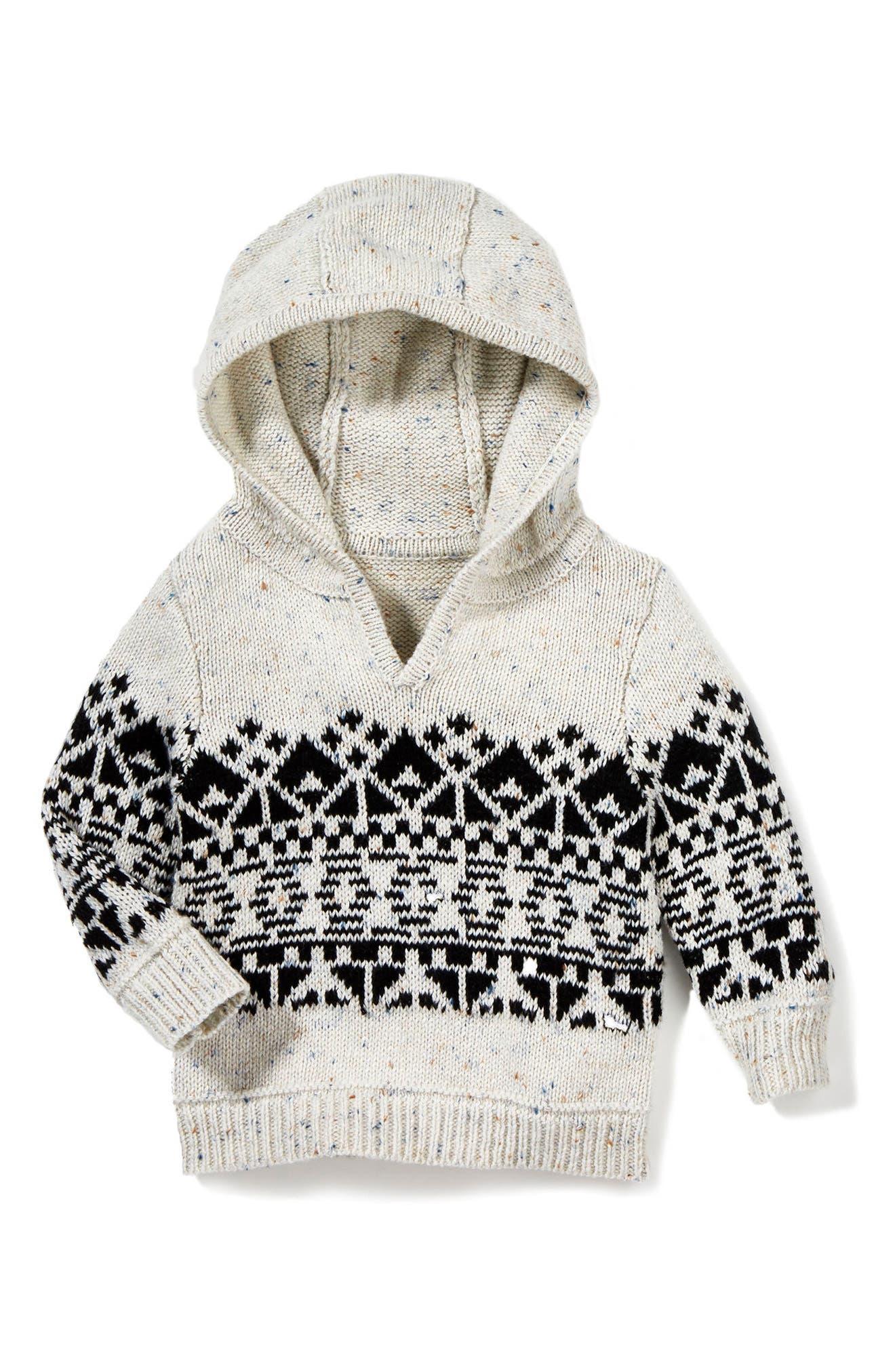 Benny Hooded Knit Sweater,                             Main thumbnail 1, color,                             Light Grey