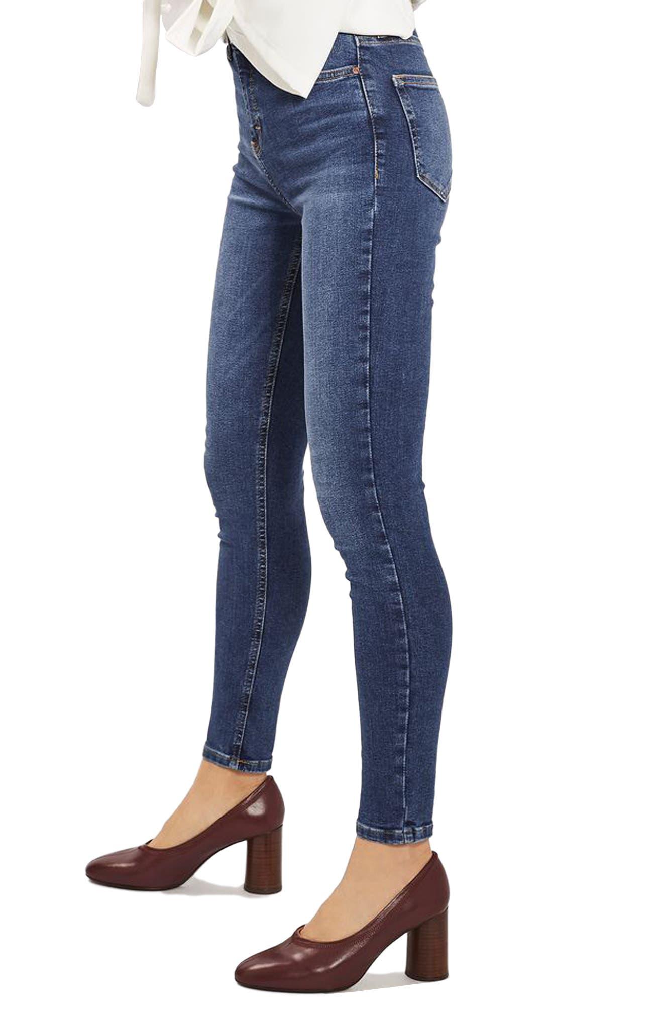 Main Image - Topshop Indigo High Waist Skinny Jeans