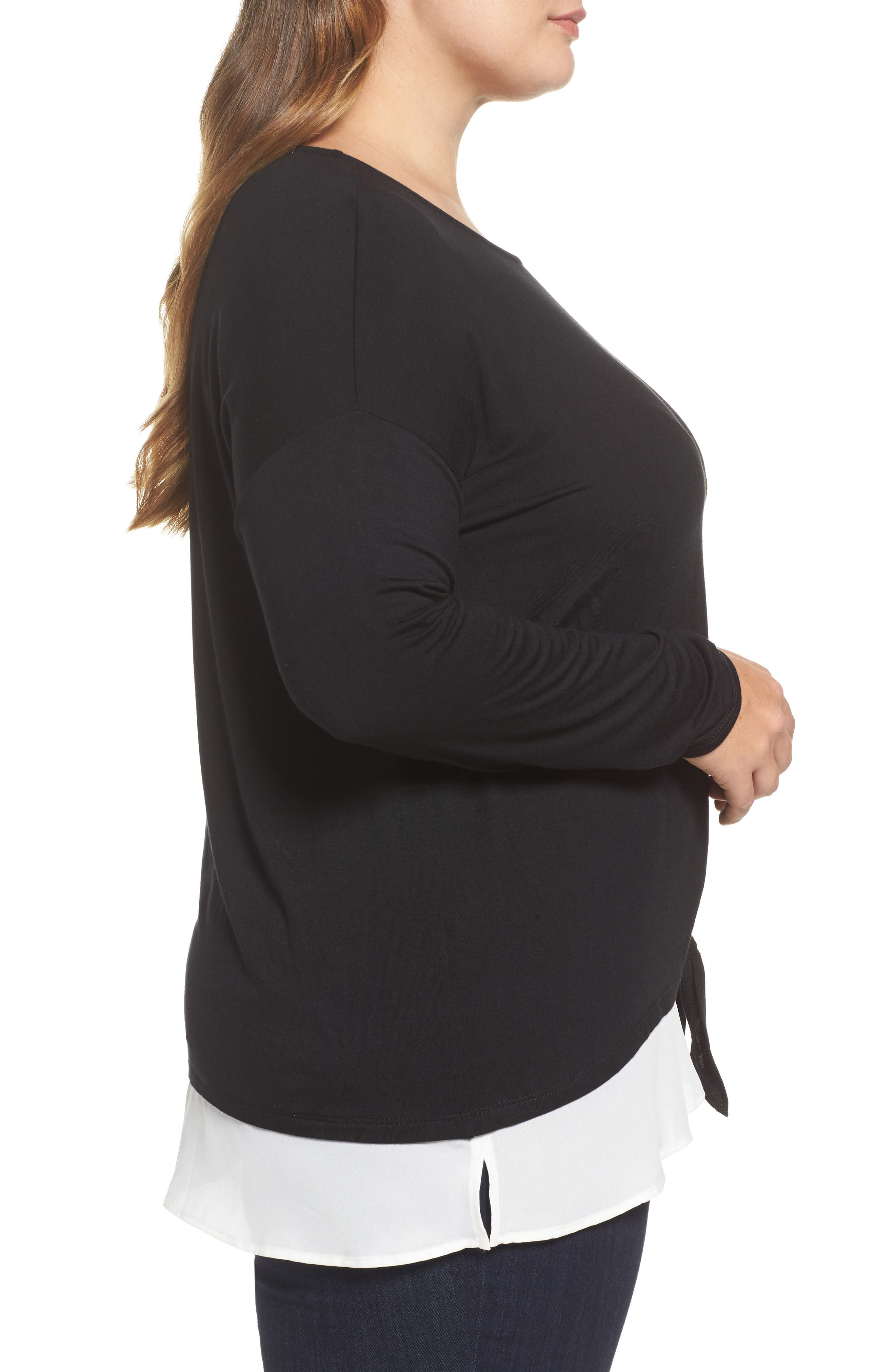 Alternate Image 3  - Sejour Layered Look Tie Hem Top (Plus Size)