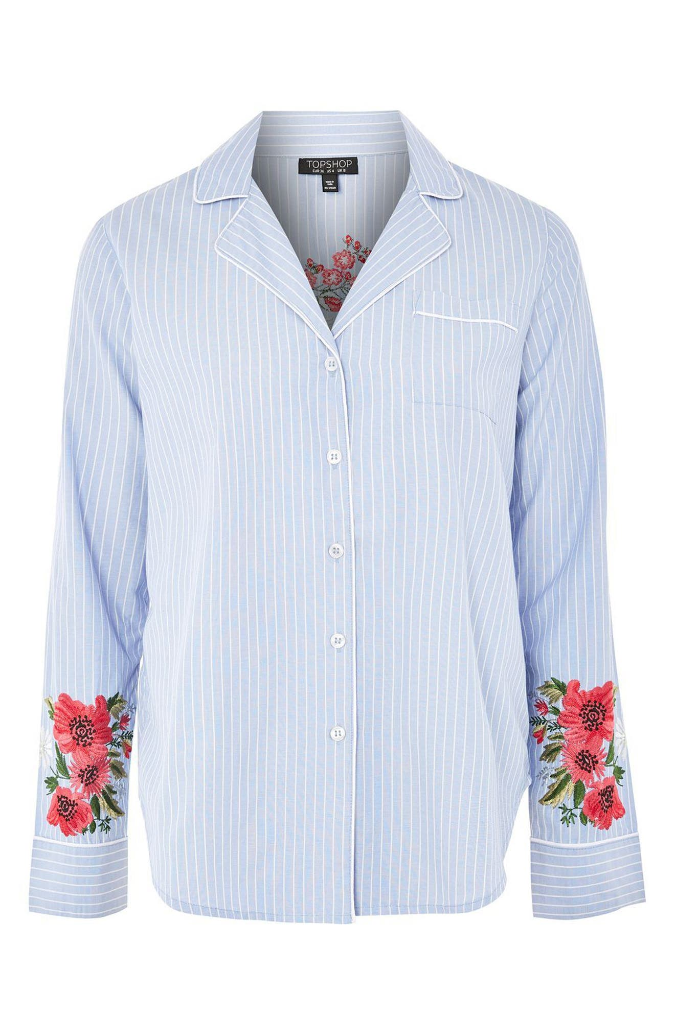 Floral Embroidered Stripe Nightshirt,                             Alternate thumbnail 3, color,                             Blue Multi