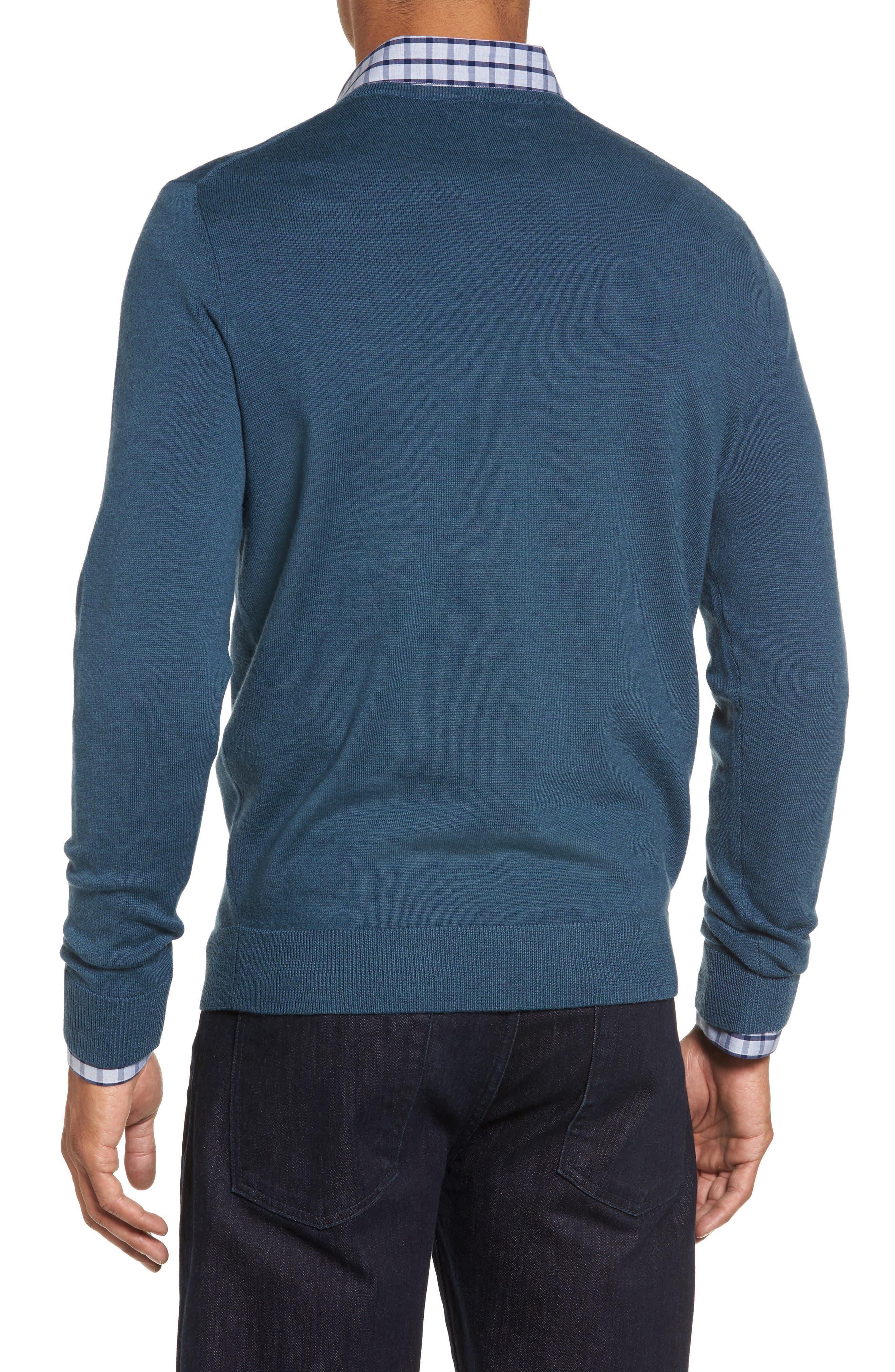 Alternate Image 2  - Nordstrom Men's Shop V-Neck Merino Wool Sweater (Regular & Tall)