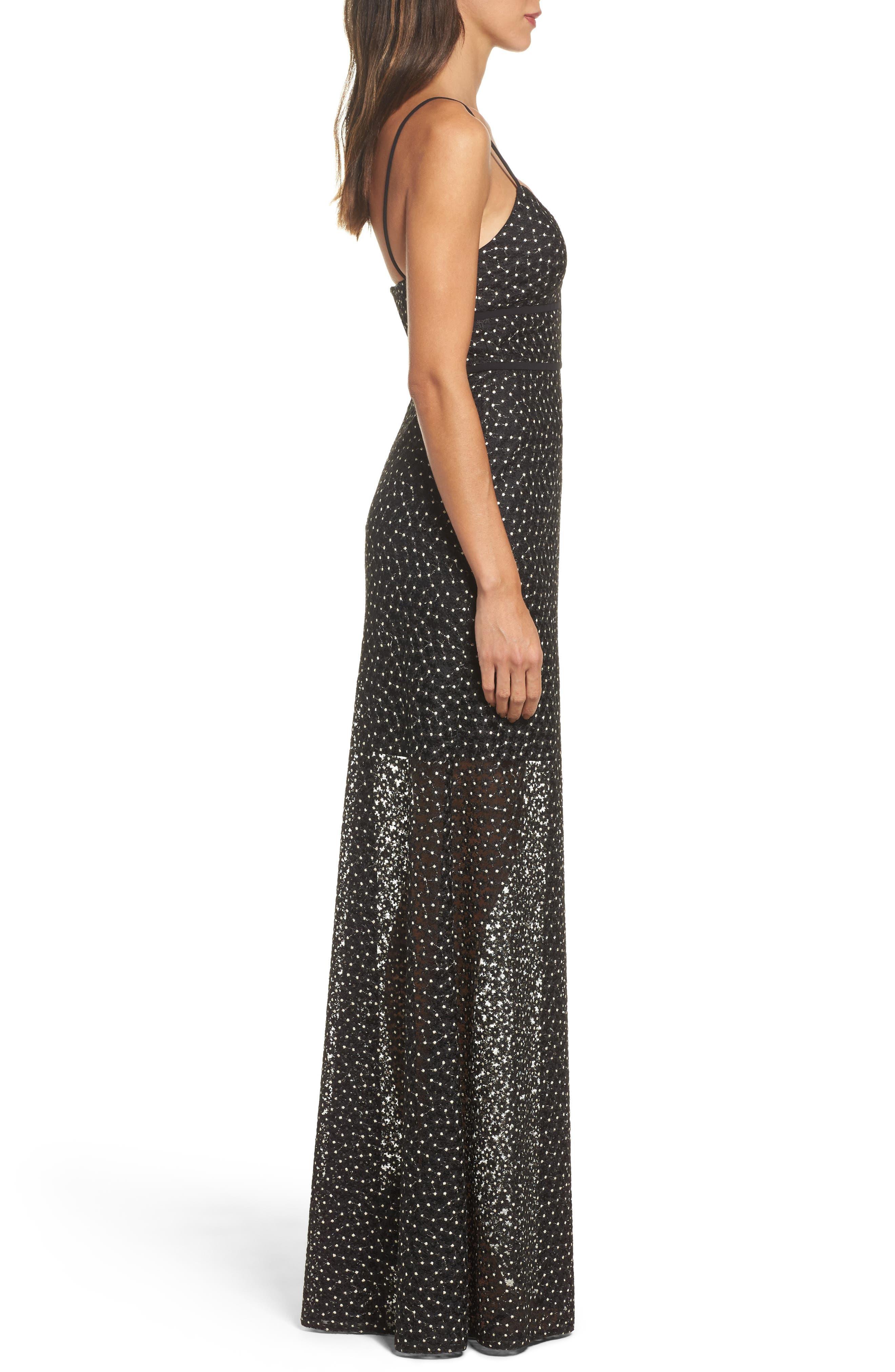Floral Lace Crepe Gown,                             Alternate thumbnail 3, color,                             Black