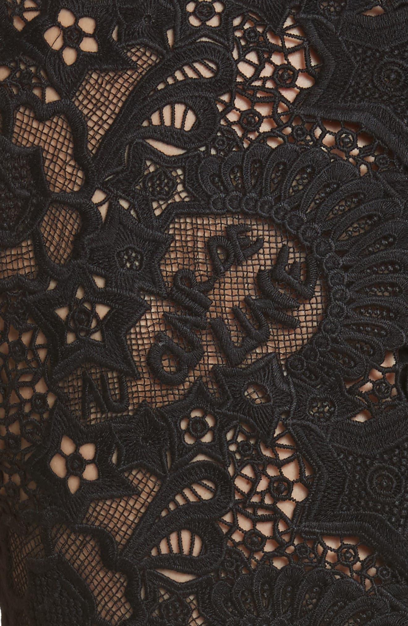 Lace Back Crepe & Tweed Dress,                             Alternate thumbnail 5, color,                             Black
