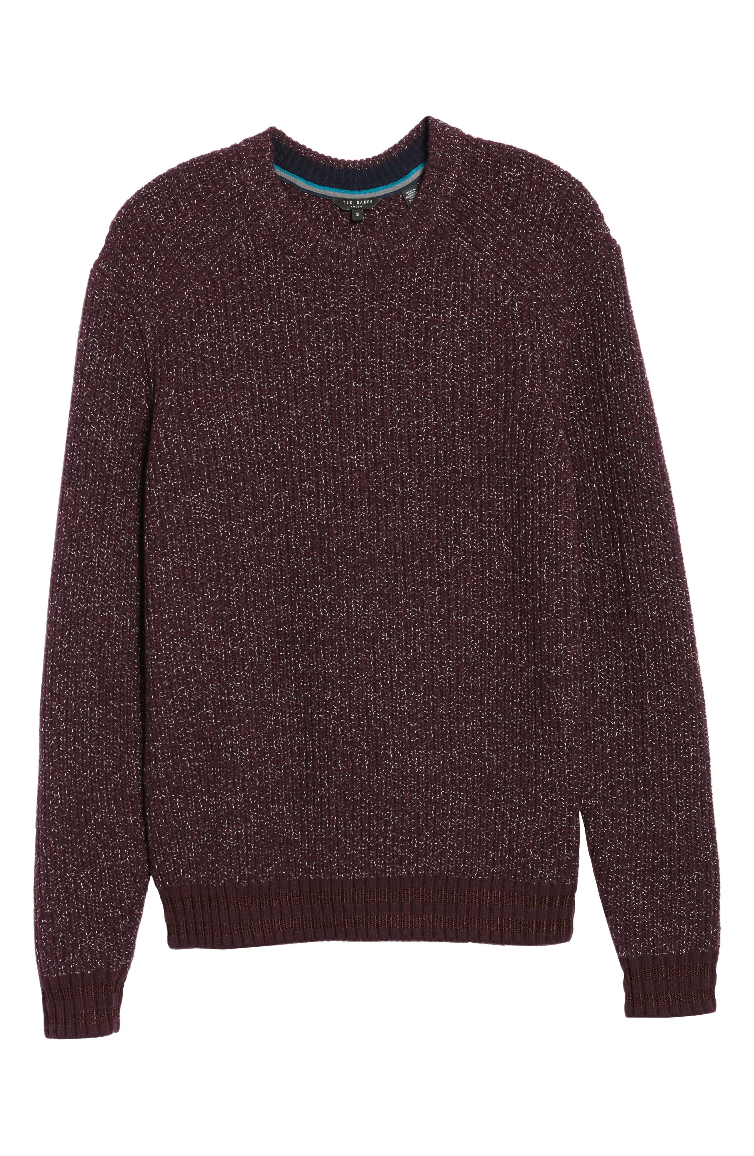 Dot Fielitza Jacquard Sweater,                             Alternate thumbnail 6, color,                             Dark Dahlia