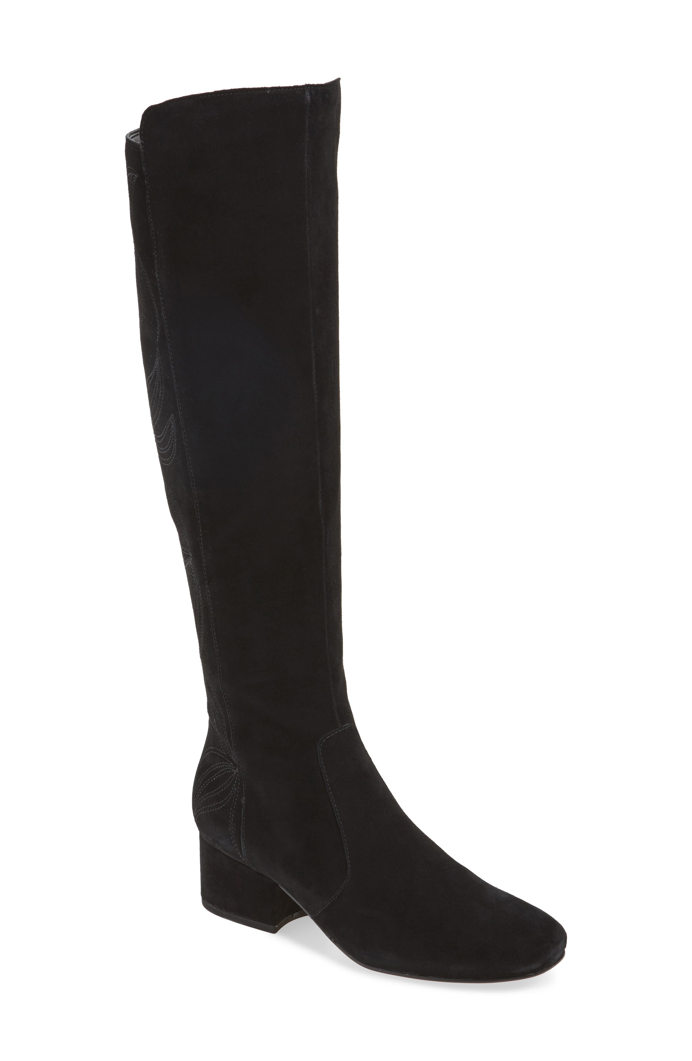 Tawnna Knee High Boot,                             Main thumbnail 1, color,                             Black Suede