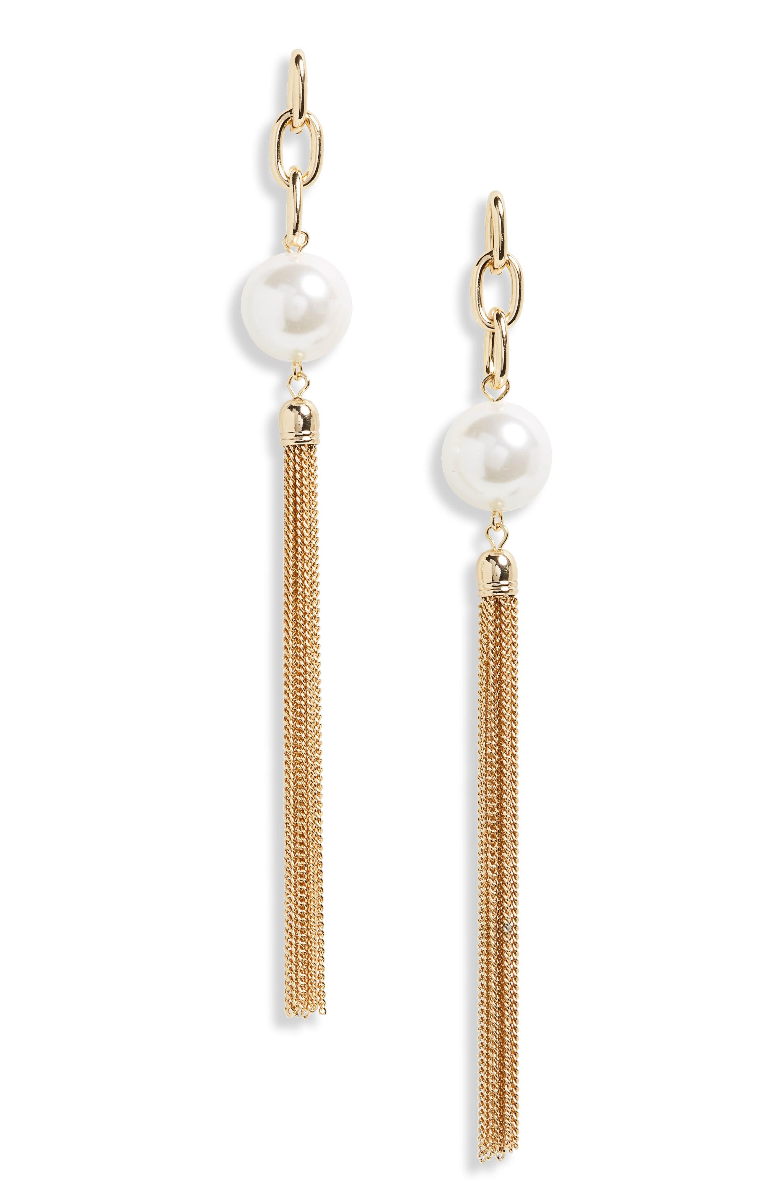Main Image - BP. Imitation Pearl Fringe Earrings