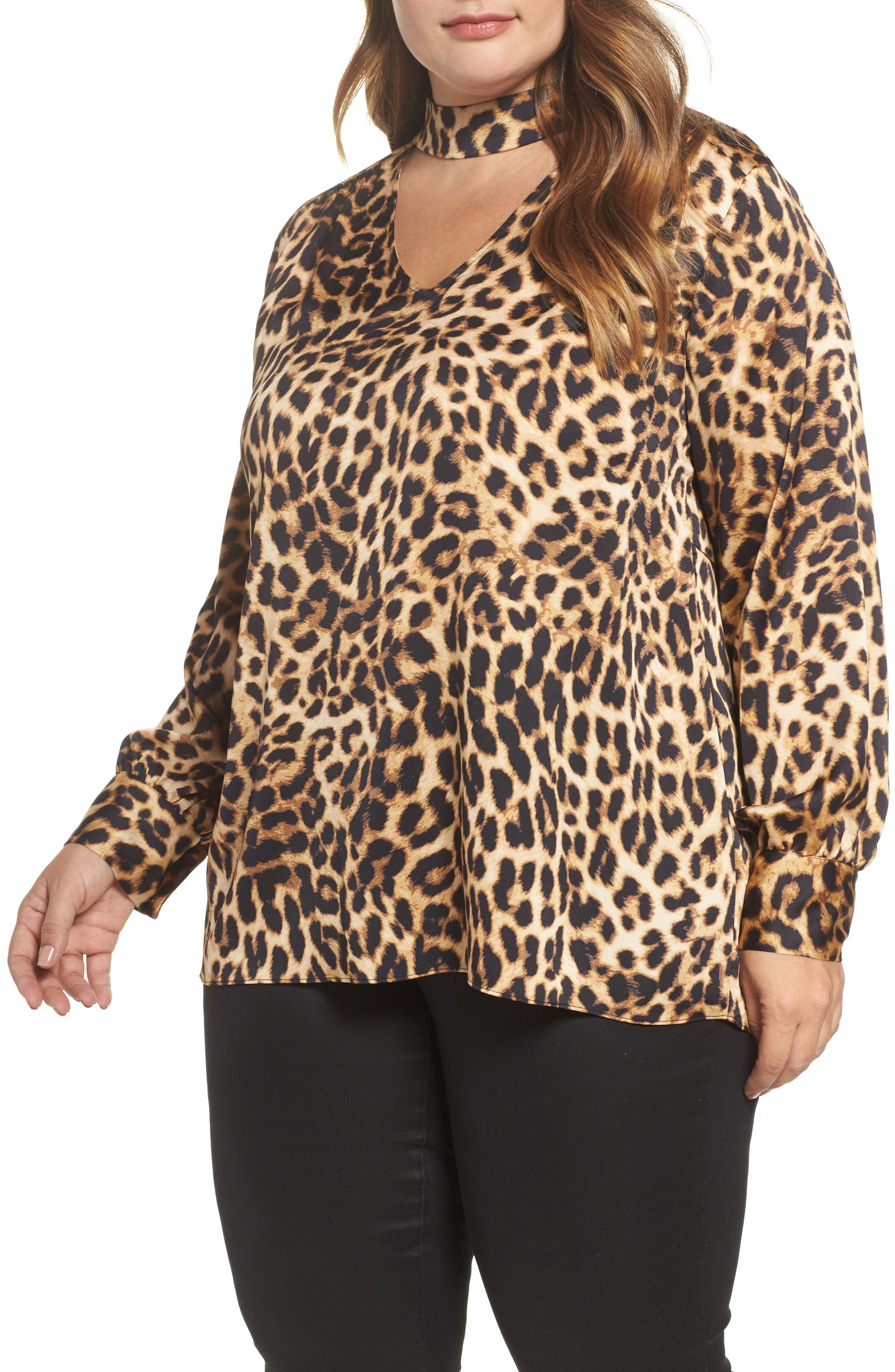 Mock Choker Neck Leopard Print Top,                         Main,                         color, Rich Black