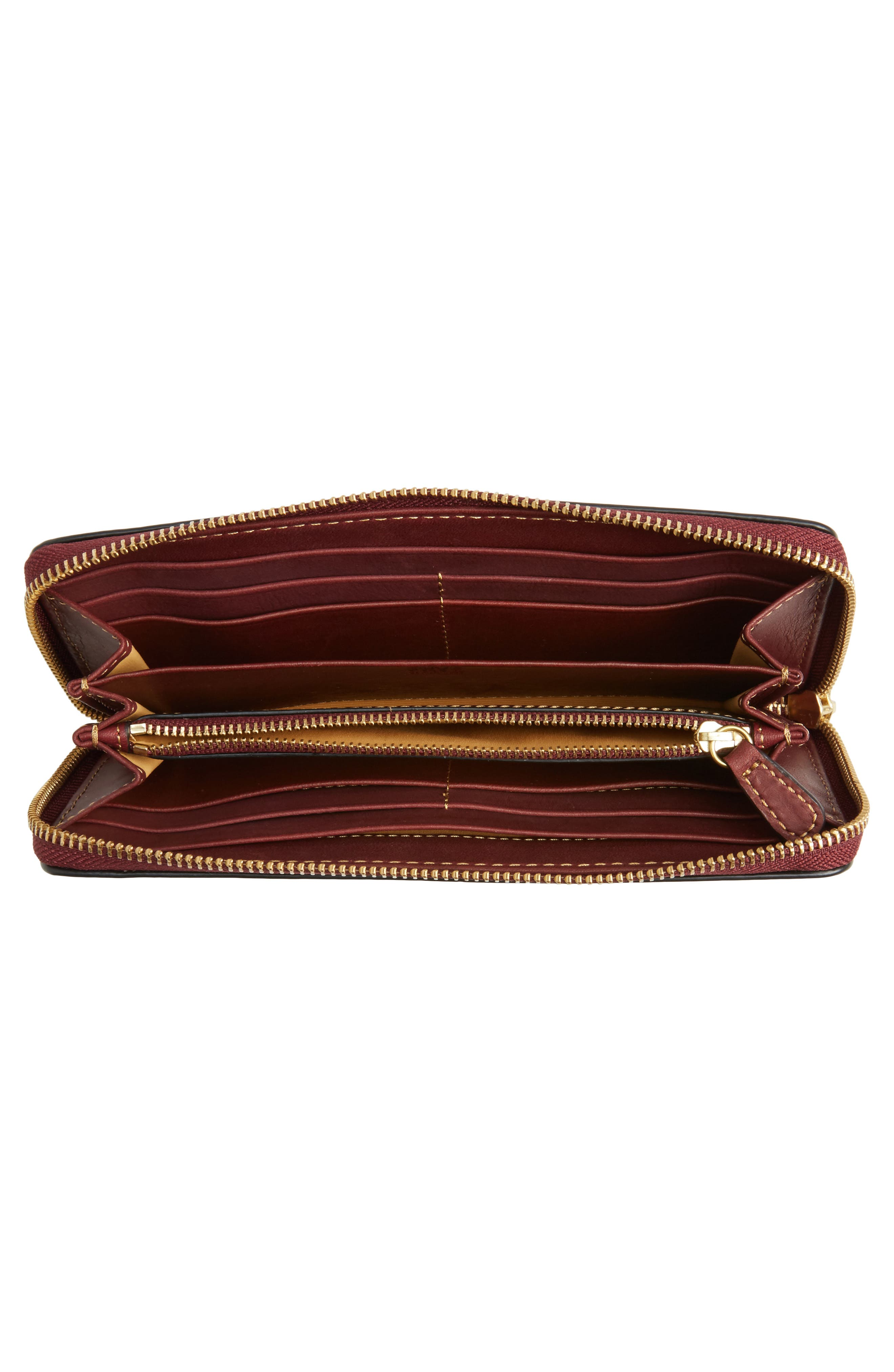 Ilana Harness Leather Zip Wallet,                             Alternate thumbnail 2, color,                             Wine