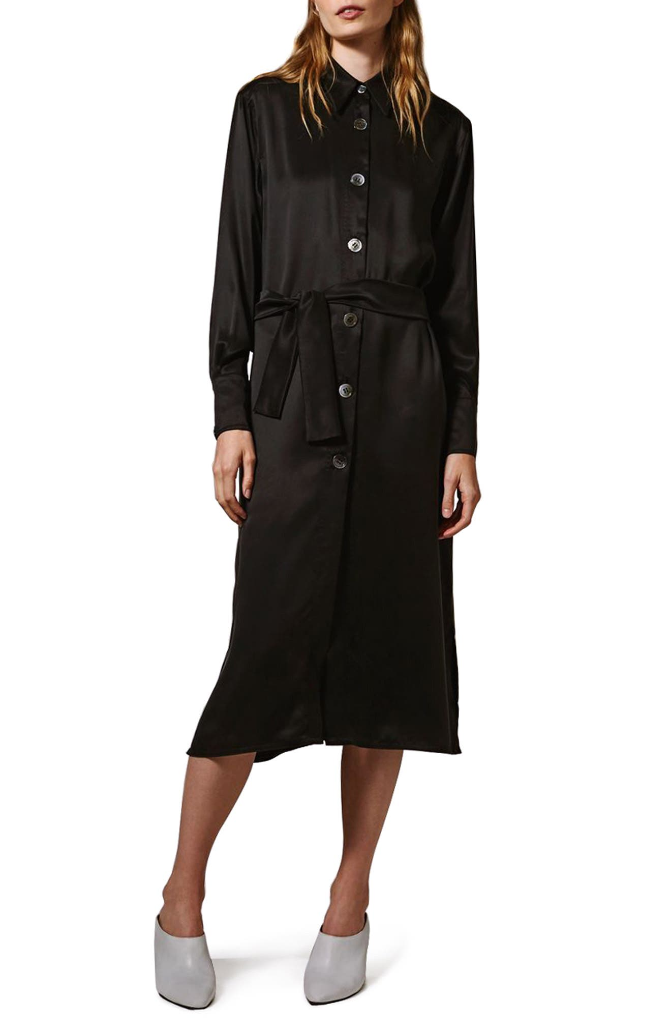 Topshop Boutique Sandwash Belted Silk Shirtdress