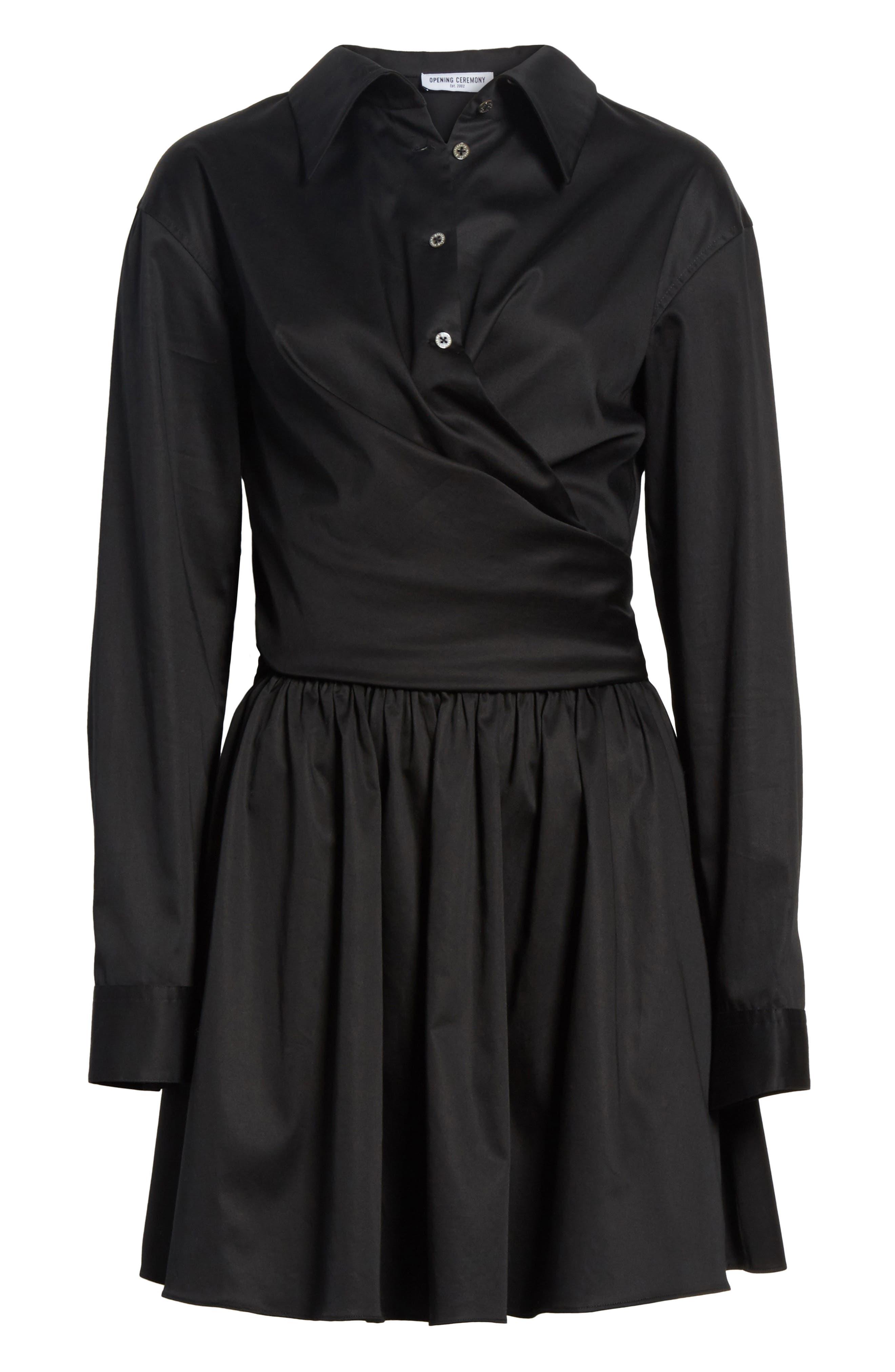 Wrap Front Sateen Dress,                             Alternate thumbnail 6, color,                             Black