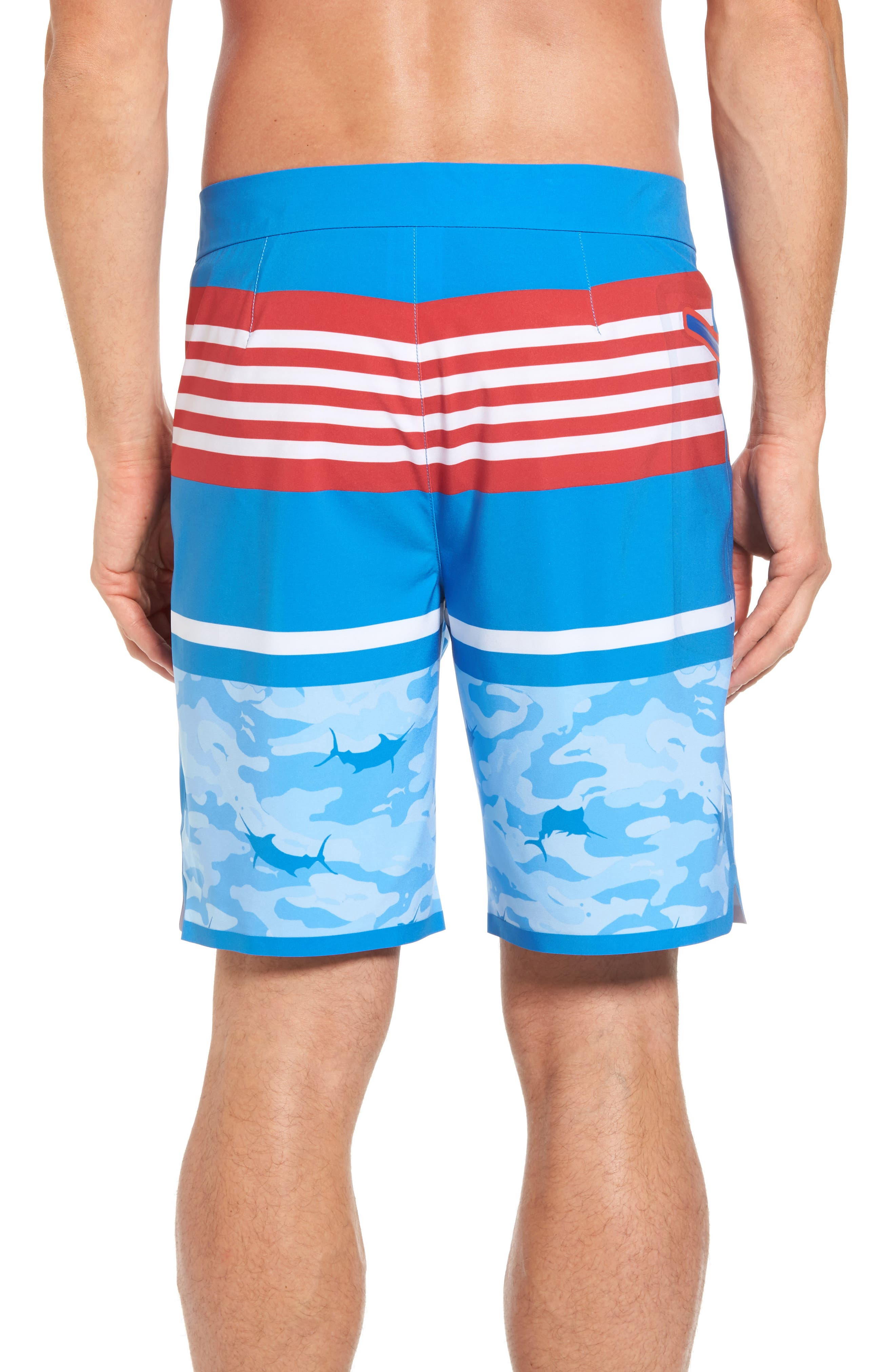 Fish Camo Stripe Board Shorts,                             Alternate thumbnail 2, color,                             Hull Blue