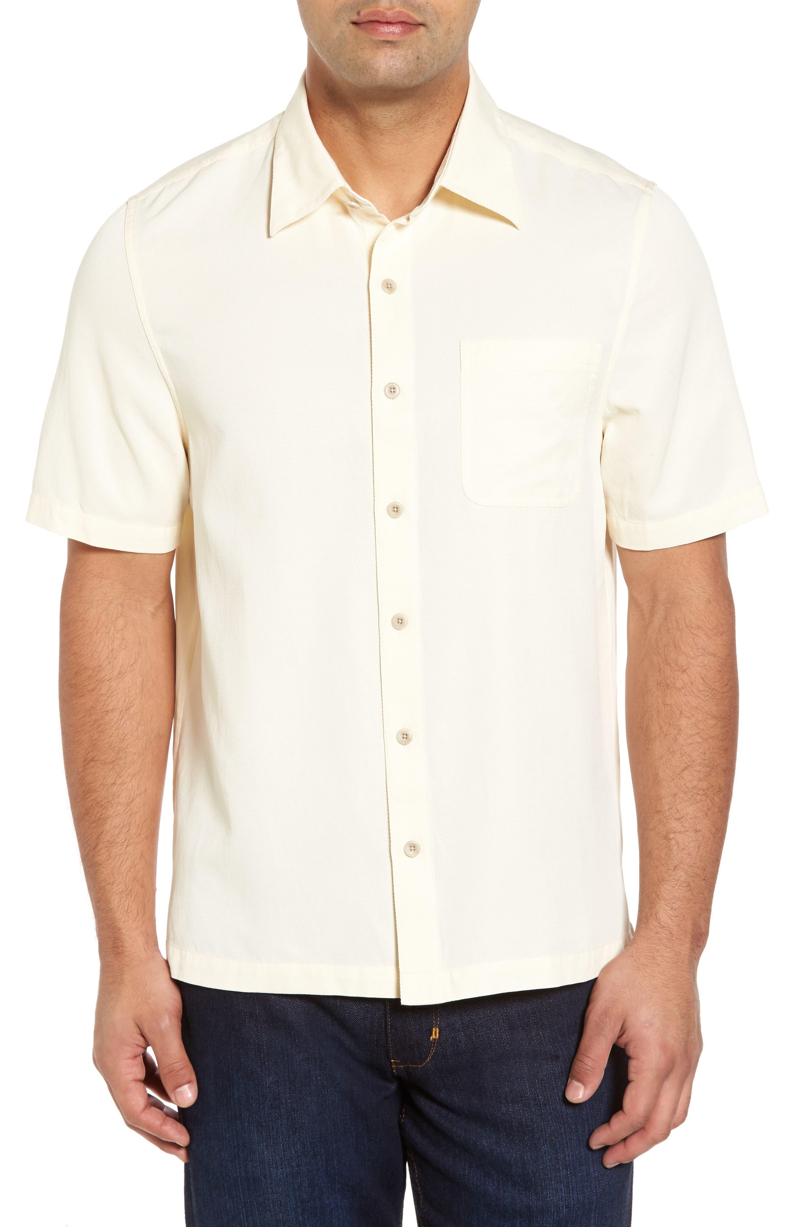 'Havana Cloth' Regular Fit Short Sleeve Silk & Cotton Sport Shirt,                         Main,                         color, White