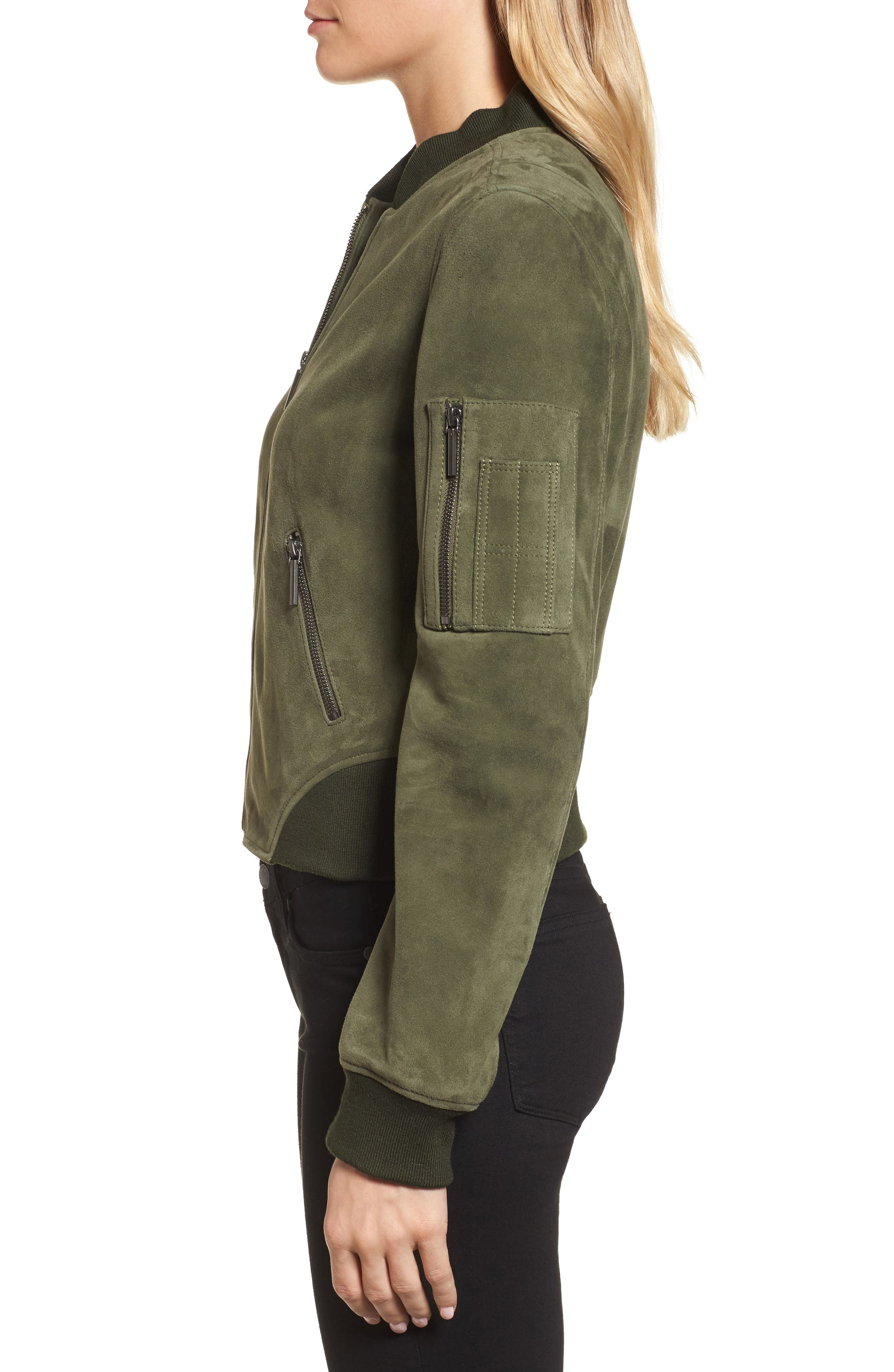 Crop Suede Bomber Jacket,                             Alternate thumbnail 3, color,                             Green Grove