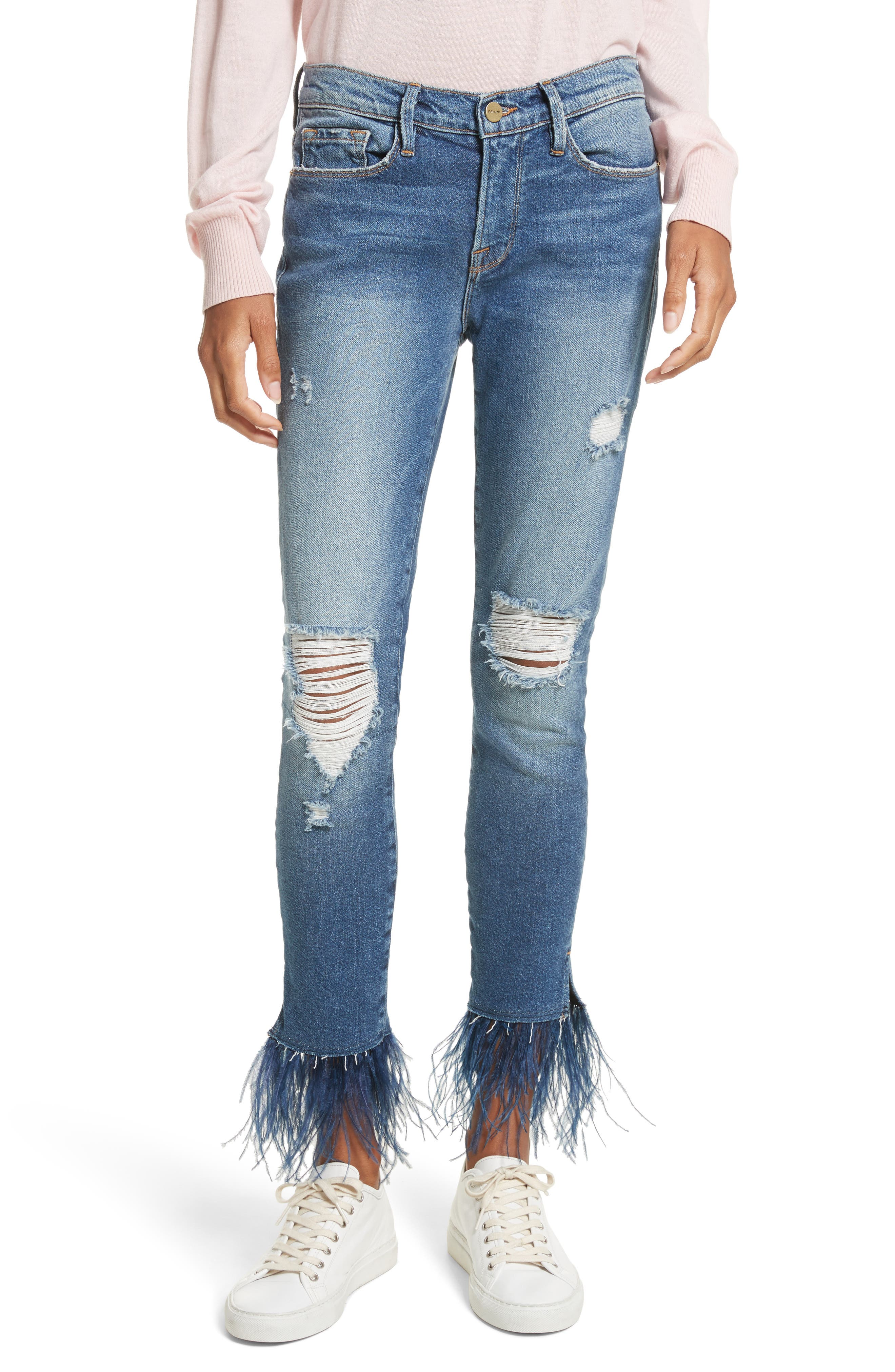 Mid Rise Skinny Feather Embellished Jeans,                             Main thumbnail 1, color,                             Chrystie